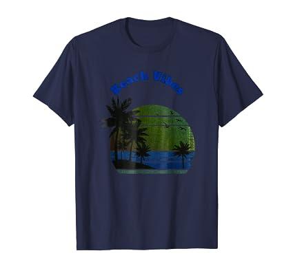 Beach Vibes Palm Trees island and horizon graphic TEE Shirt