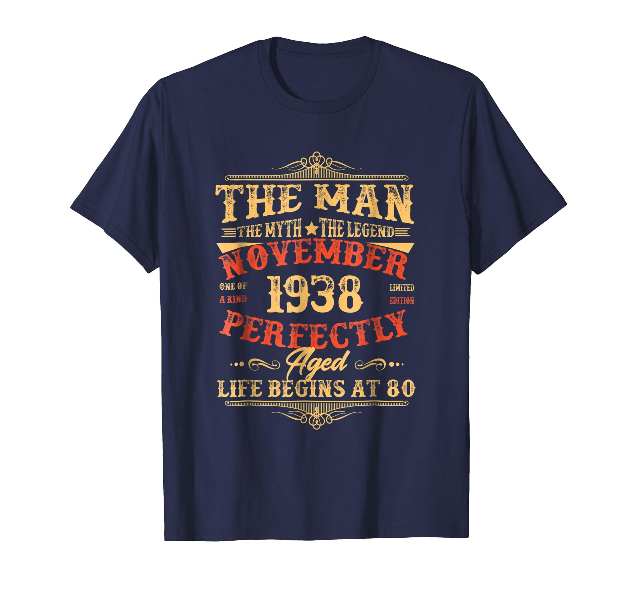 80th Birthday Gift The Man Myth Legend November 1938 Shirt-ln