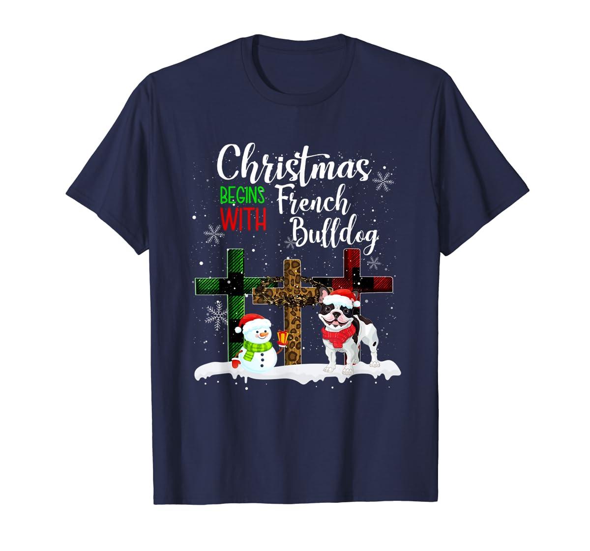 Christmas Begins With French Bulldog Costume Xmas Gifts T-Shirt-Men's T-Shirt-Navy