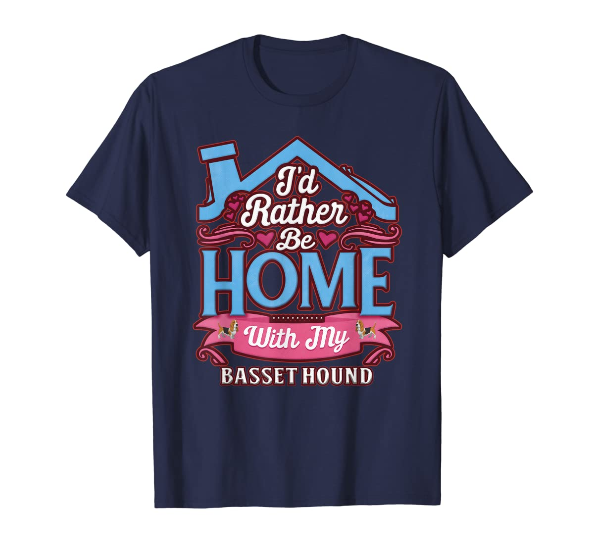 Basset Hound Home Dog T Shirt-Men's T-Shirt-Navy