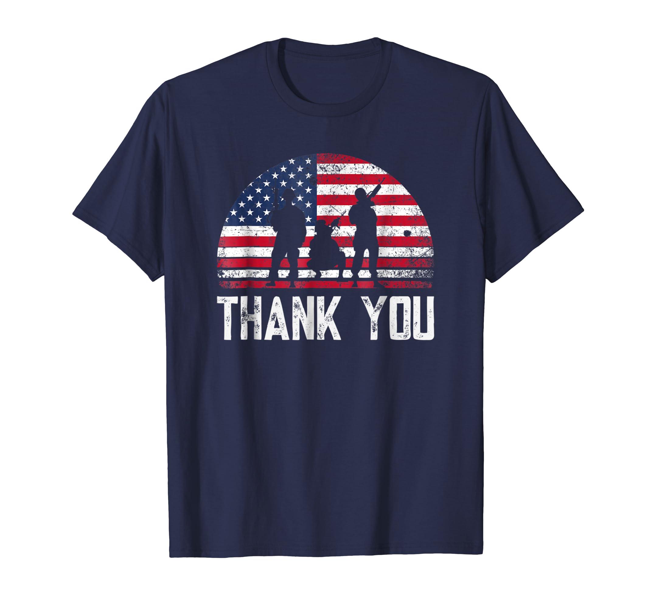 American Flag T Shirt Thank you Veteran Veterans Day T Shirt-azvn