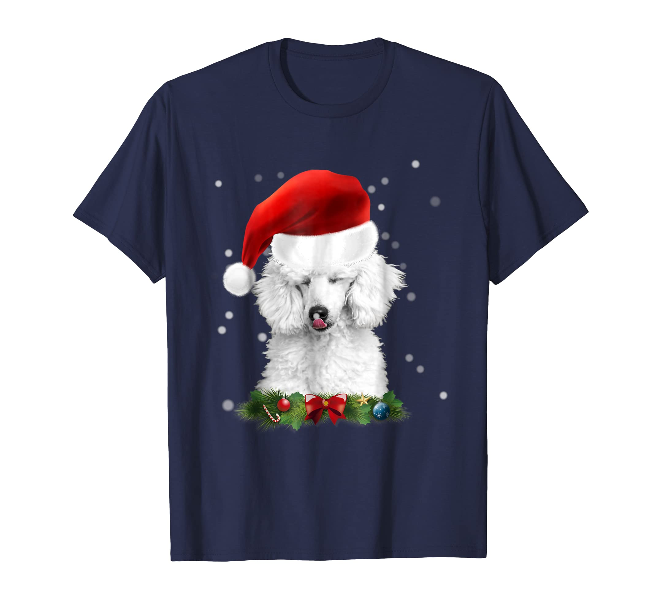 Standard Poodle Licking Snow Off Nose in Christmas Hat Shirt-azvn