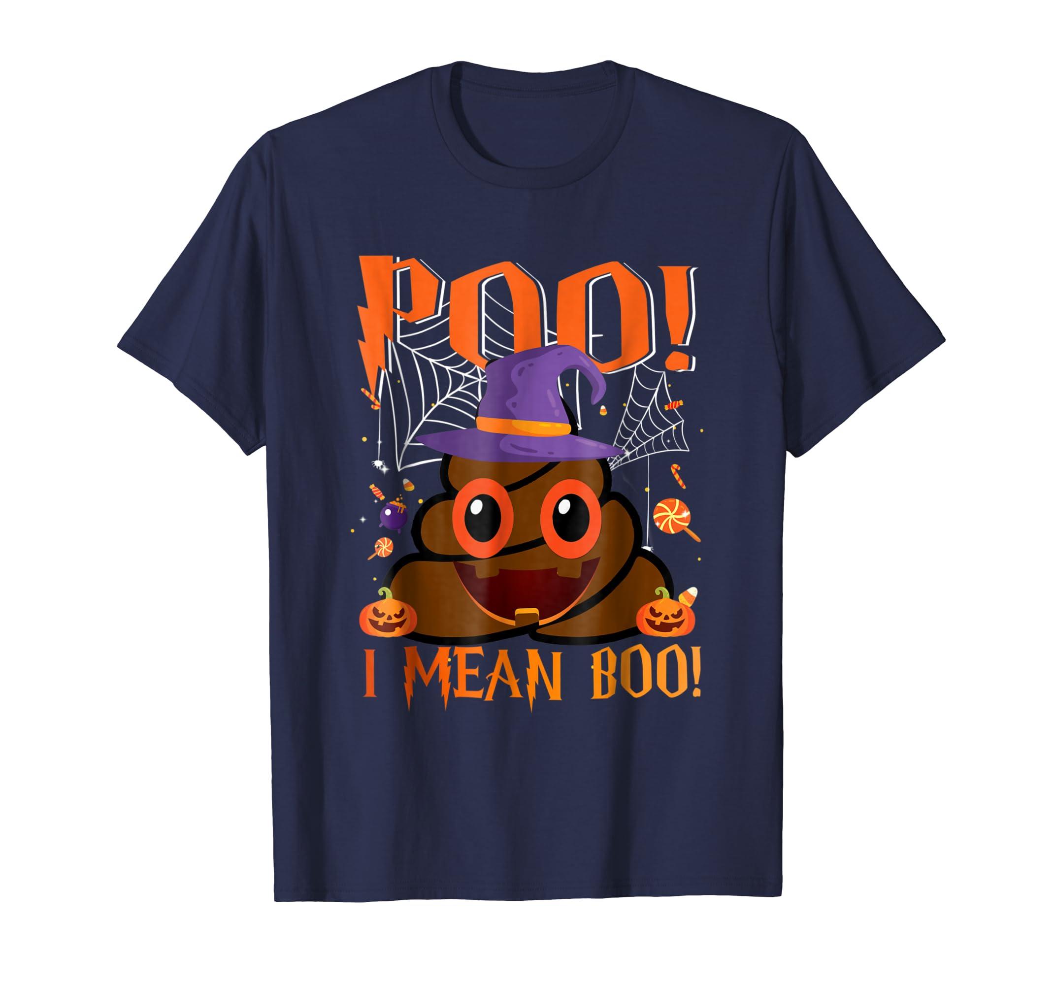 Poo I Mean Boo Funny Poop Emoji Halloween Costume Gift Shirt-Bawle