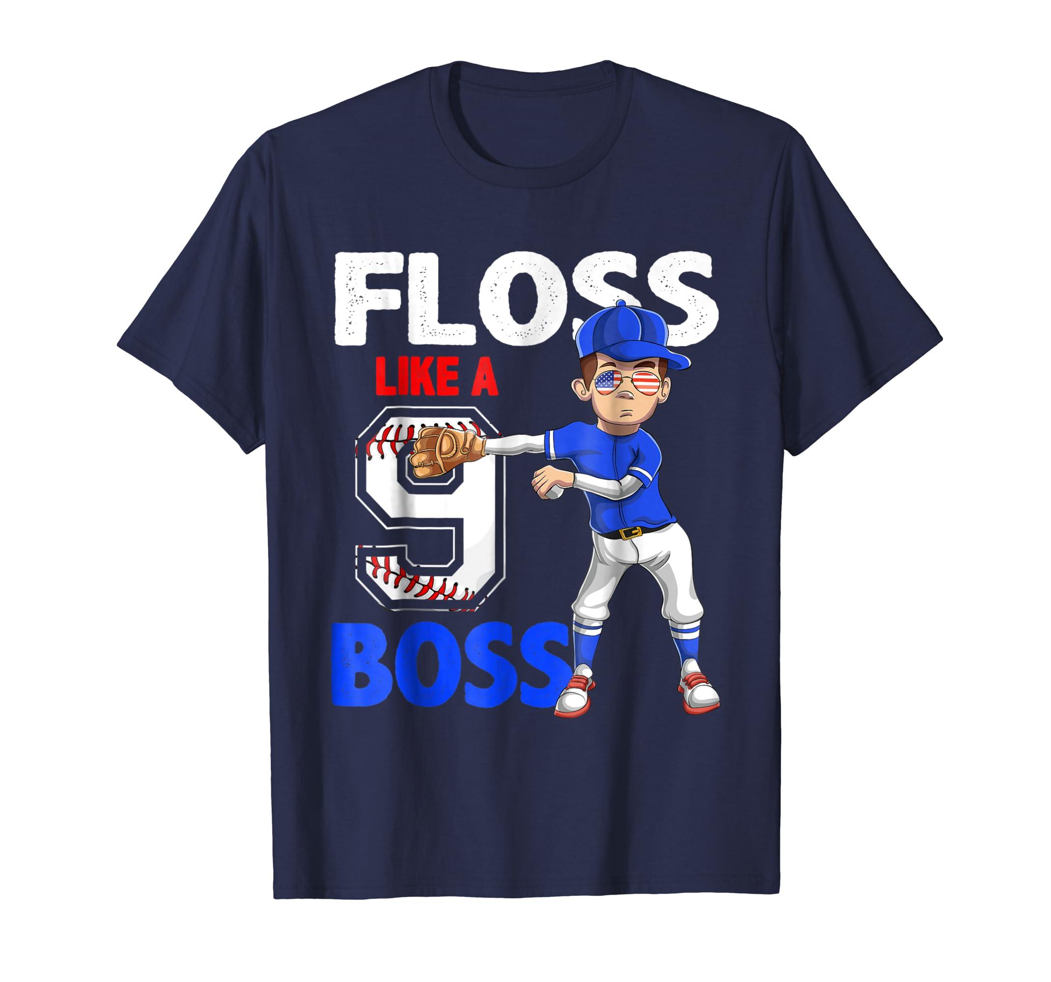 9 Year Old Birthday dabbing Baseball T-Shirt 9th Boy Gift-mt