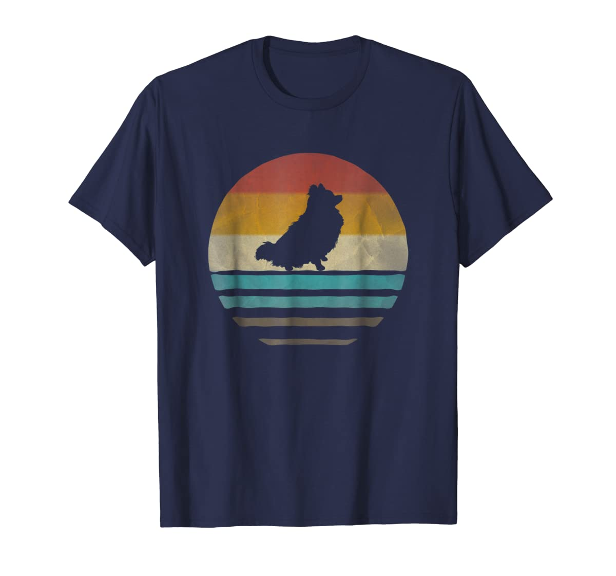 Pomeranian Dog Shirt Retro Vintage 70s Silhouette Distressed-Men's T-Shirt-Navy