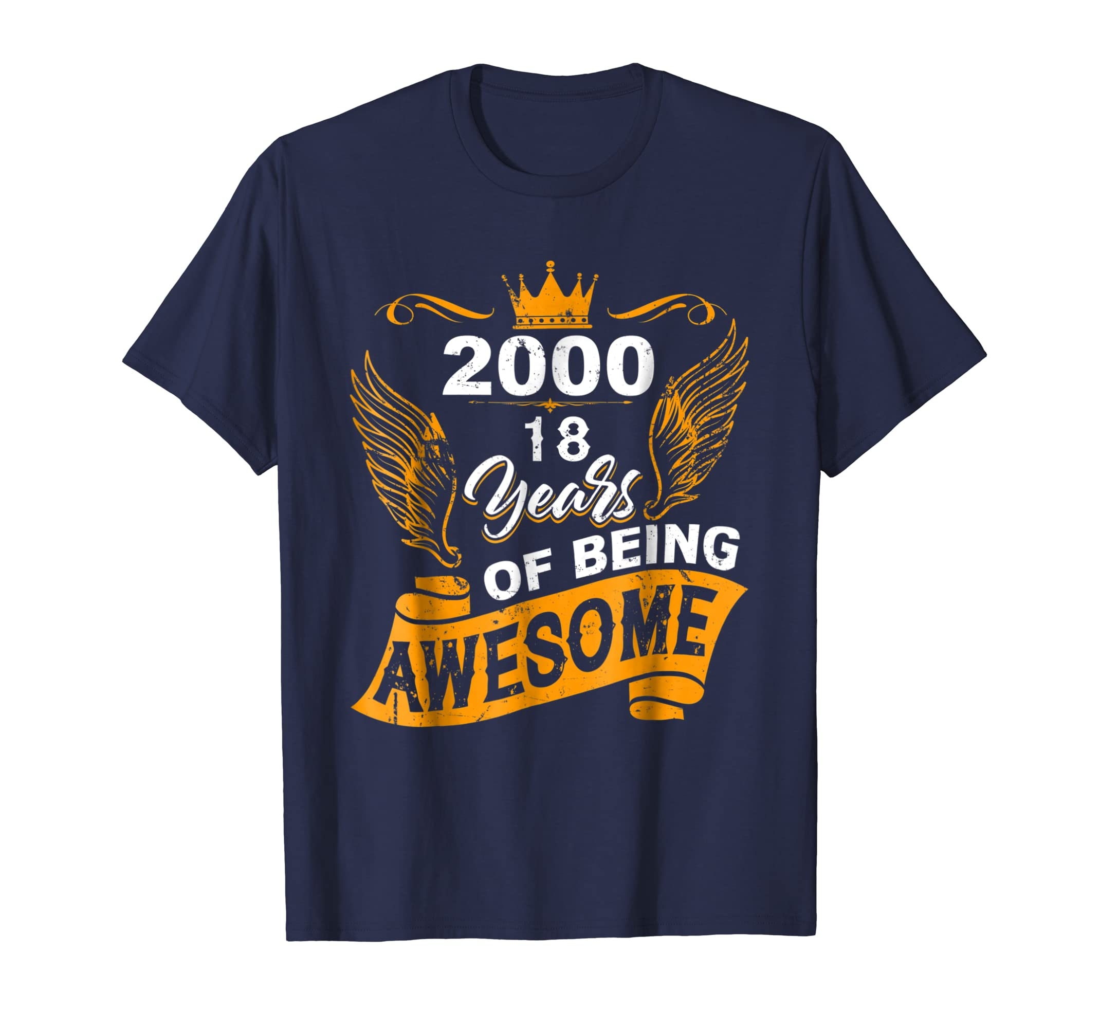 Born in 2000 18th Years of Being Awesome Birthday T-Shirt-SFL
