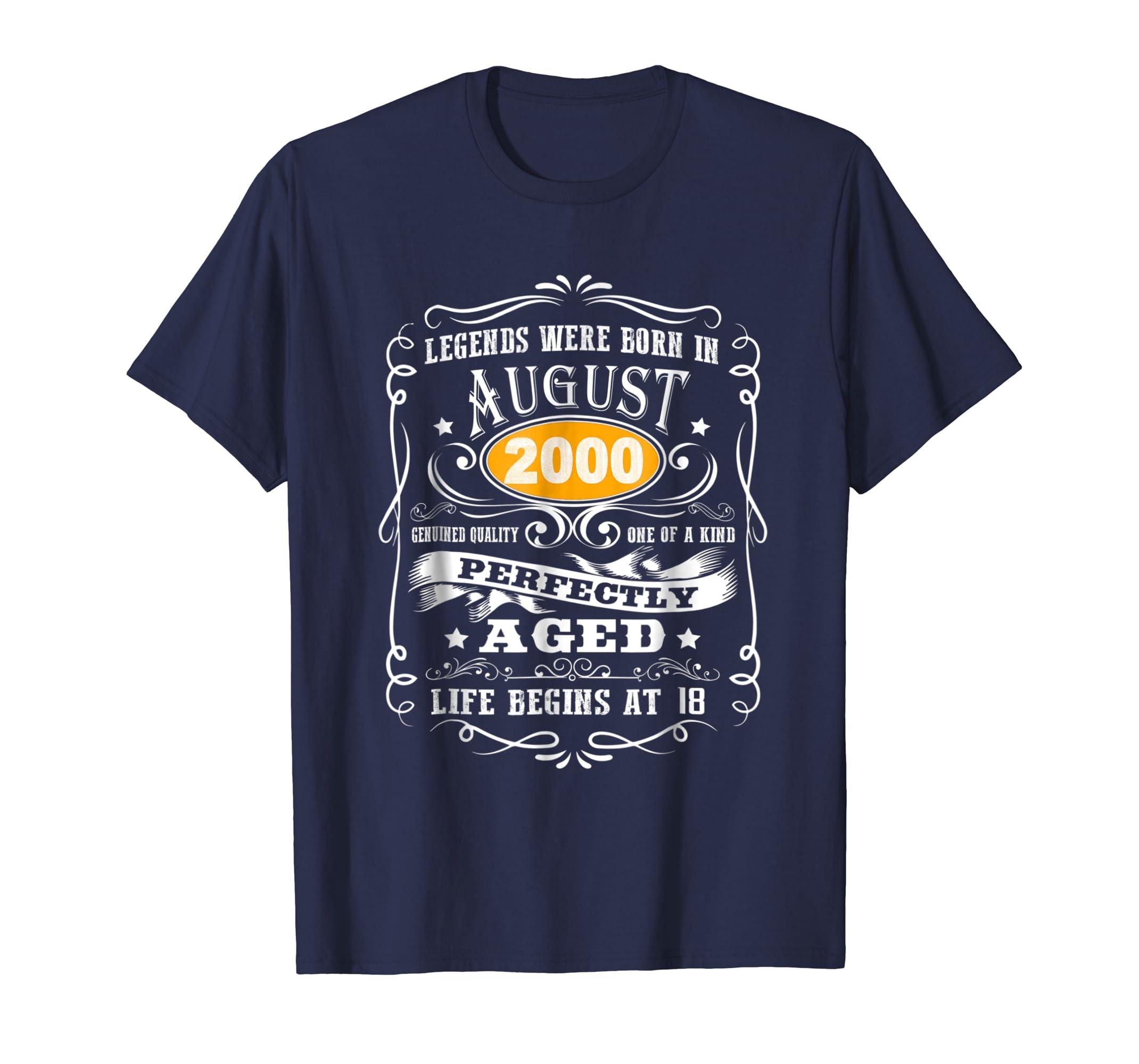 August 2000 18th Birthday Gift 18 Year Old For Men Women Tee-Awarplus