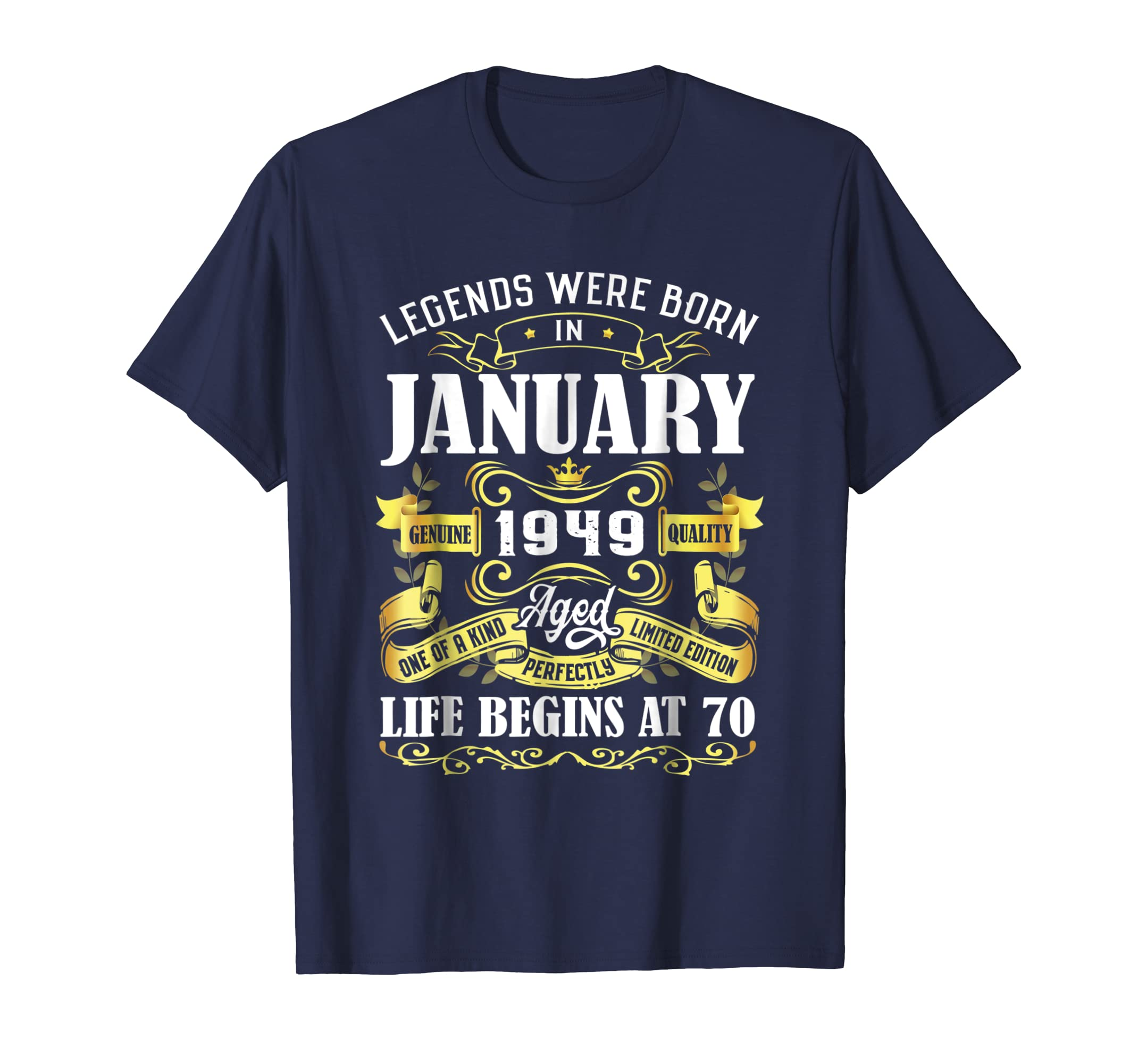 1de4f132ea3 Amazon.com  Legends Were Born In January 1949 70th Birthday Gift Shirt   Clothing