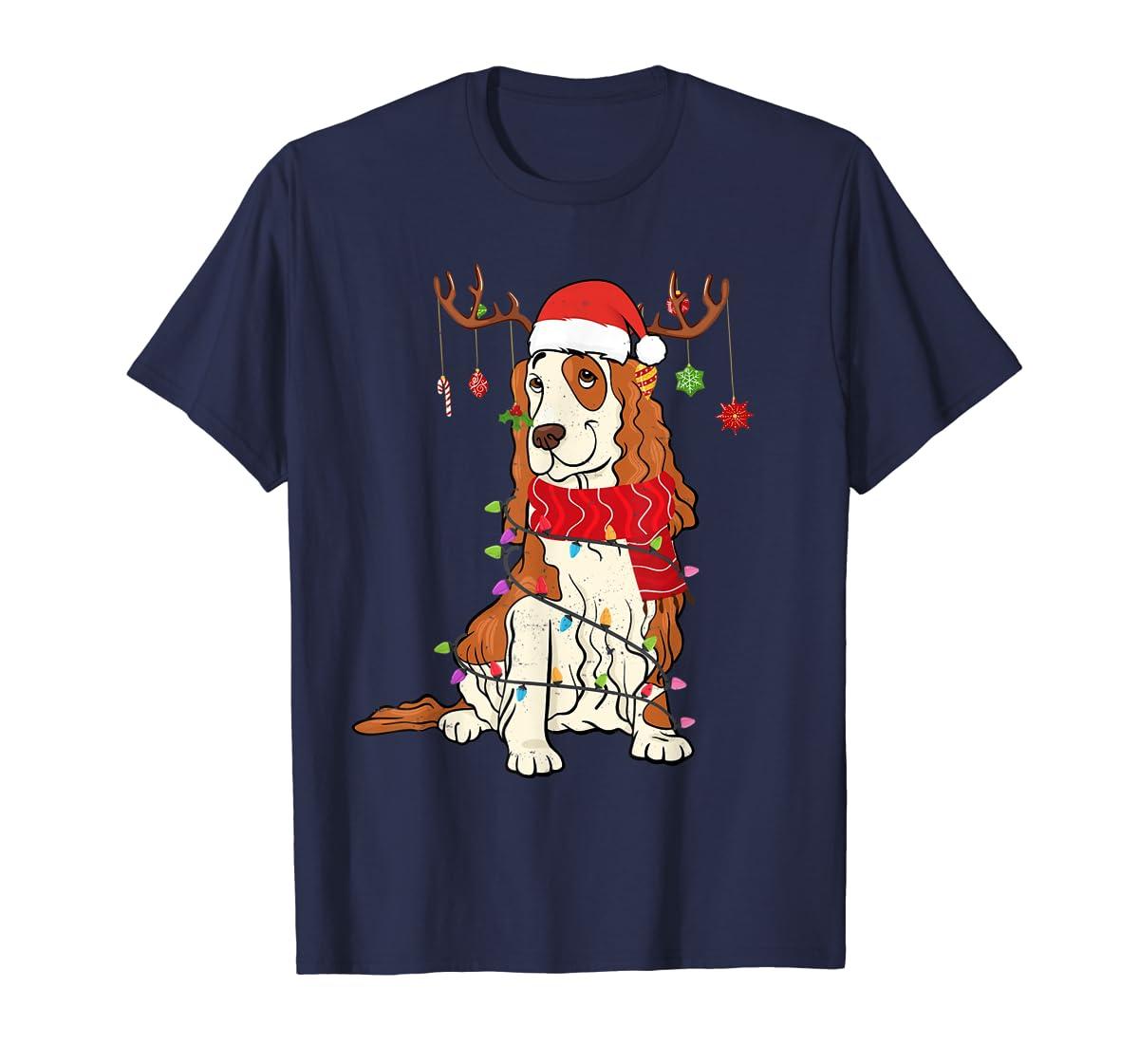 Funny Cocker Spaniel Christmas Reindeer Lights Xmas Dog T-Shirt-Men's T-Shirt-Navy