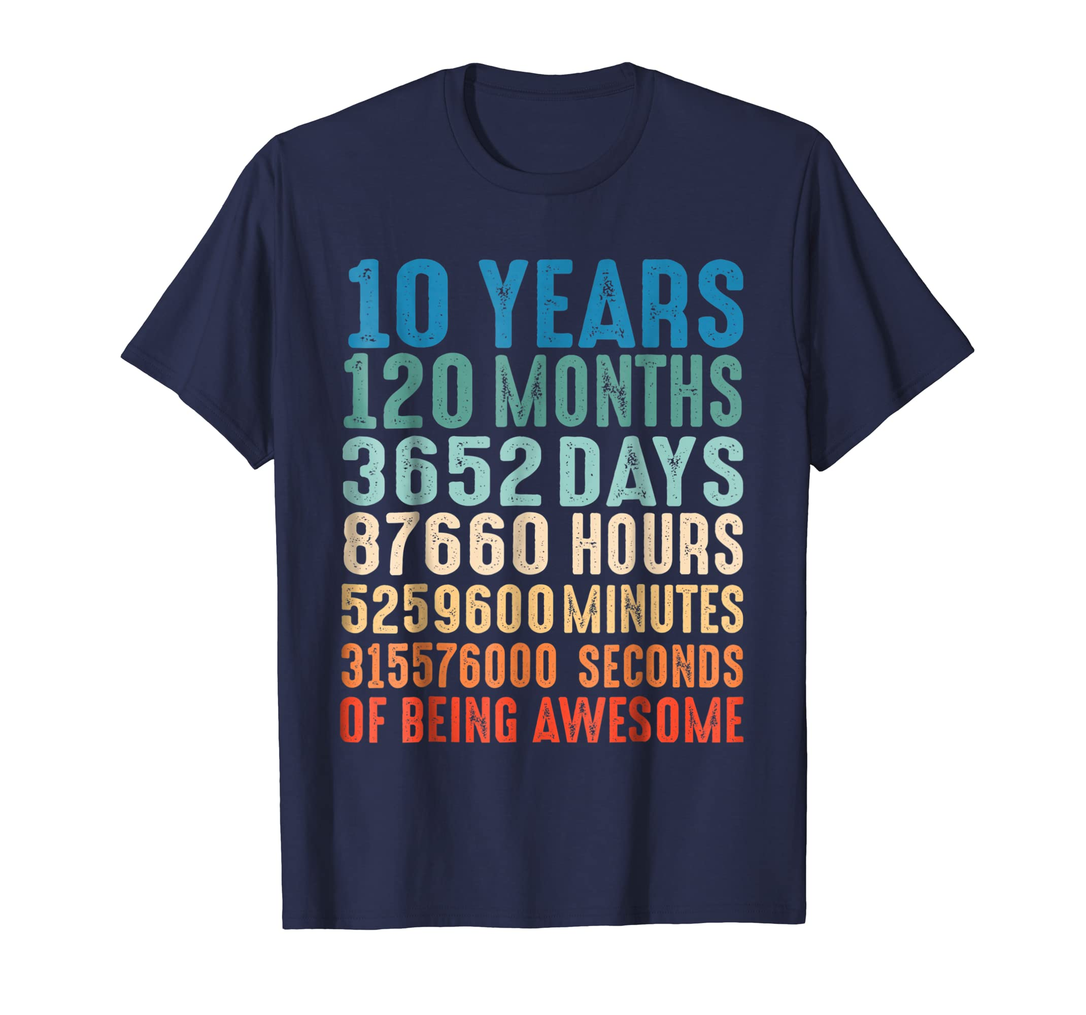 10 Years Old 10th Birthday Vintage Retro T Shirt 120 Months-ANZ