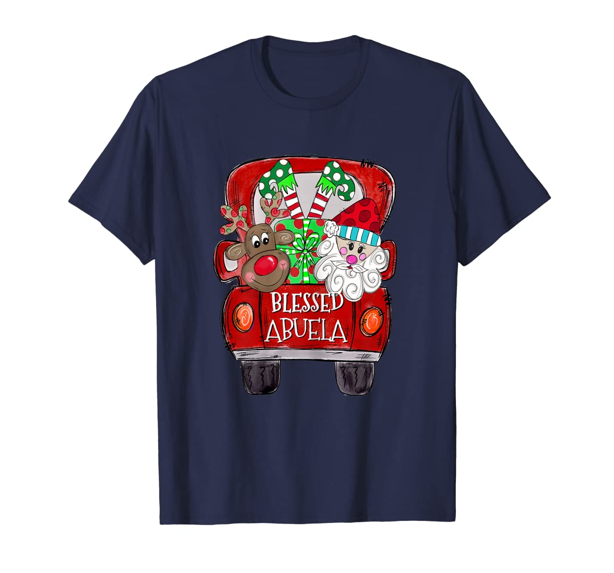 Womens Abuela Claus Cute Christmas Truck - Christmas Gift T-Shirt-Men's T-Shirt-Navy