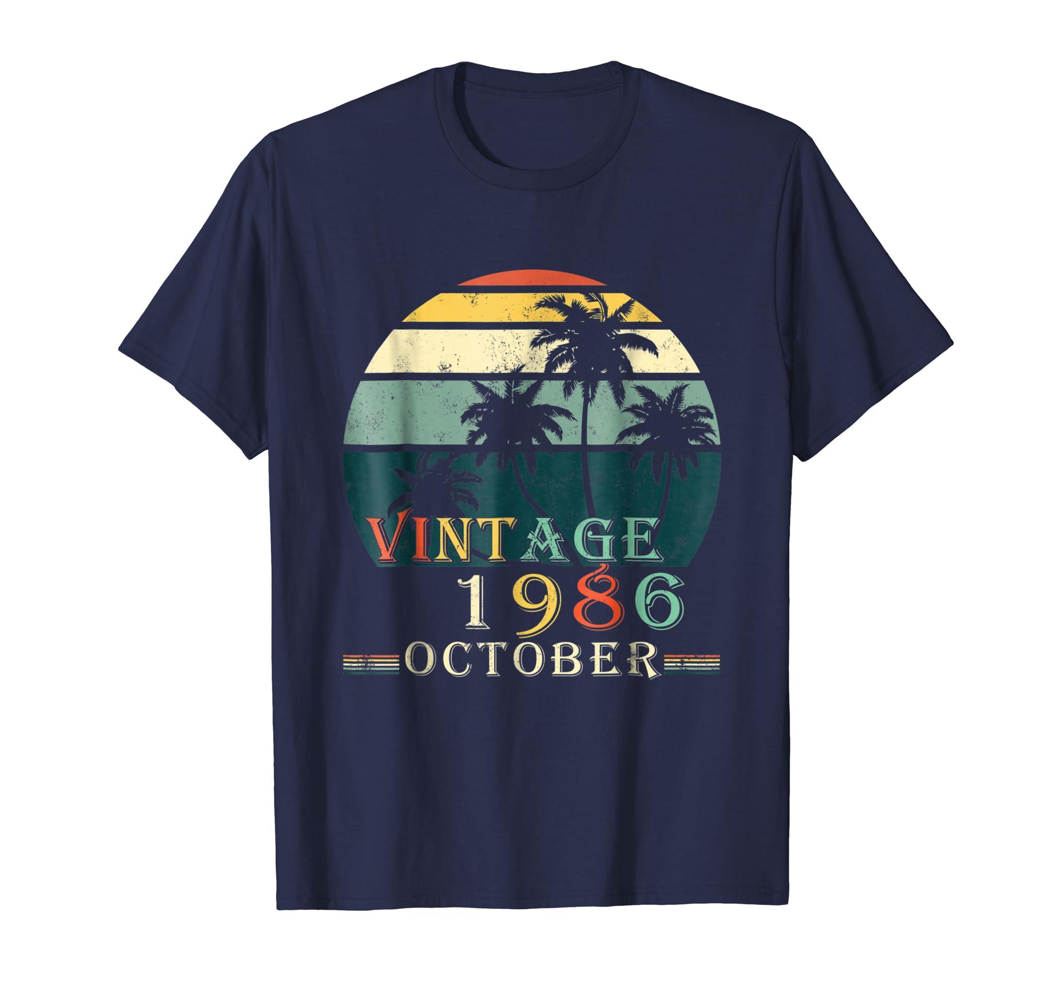 70s Style 32nd Birthday October 1986 Vintage Retro Tee Shirt-ln
