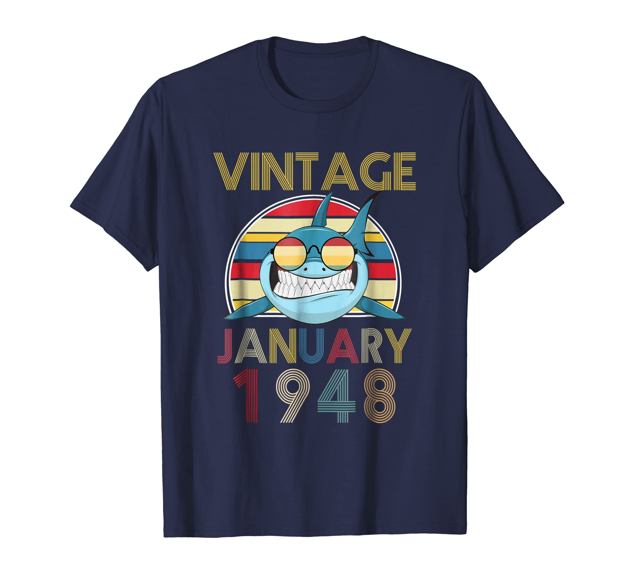 71th Birthday Gift January Vintage 1948 Year Old Shark Lover-ANZ