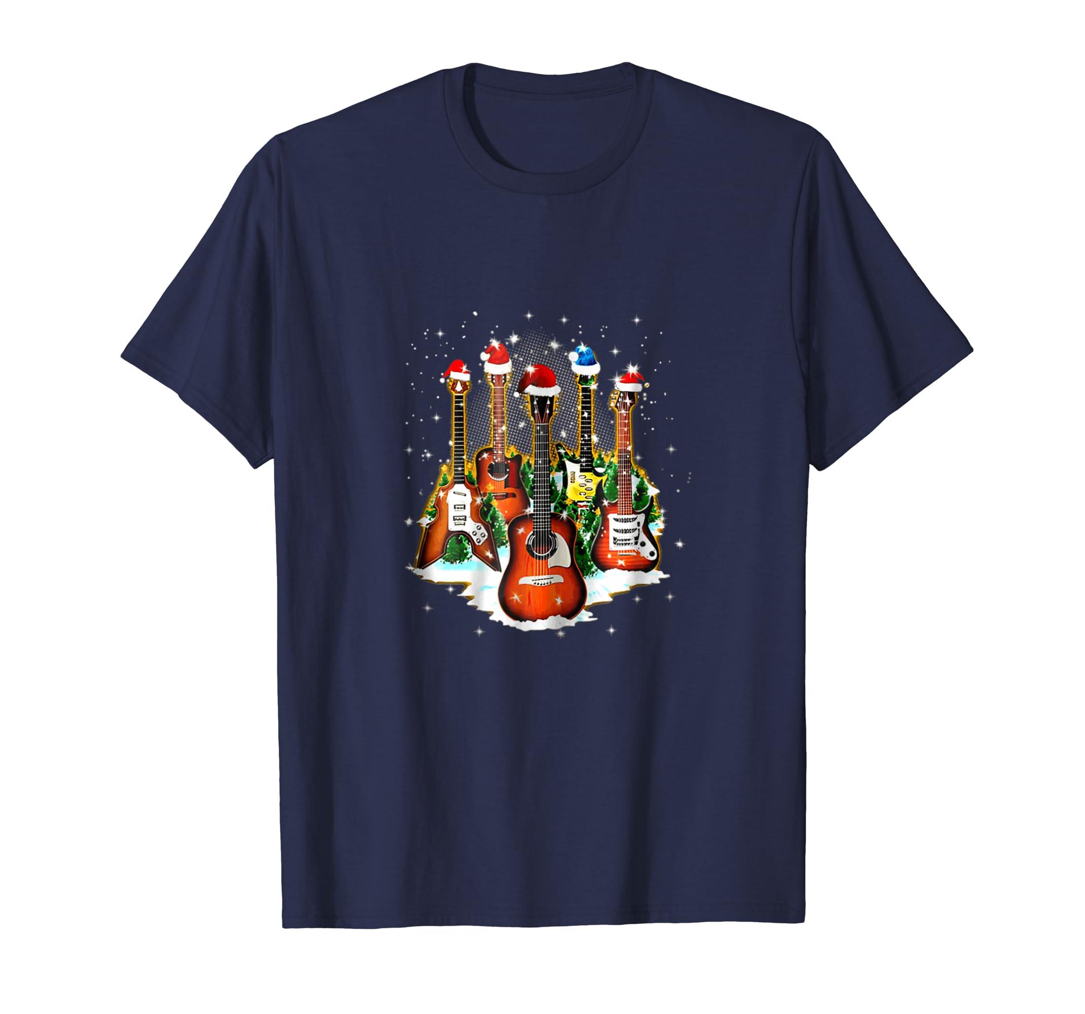 Funny Vitage Guitar Christmas Tshirt For Guitar Lovers-azvn