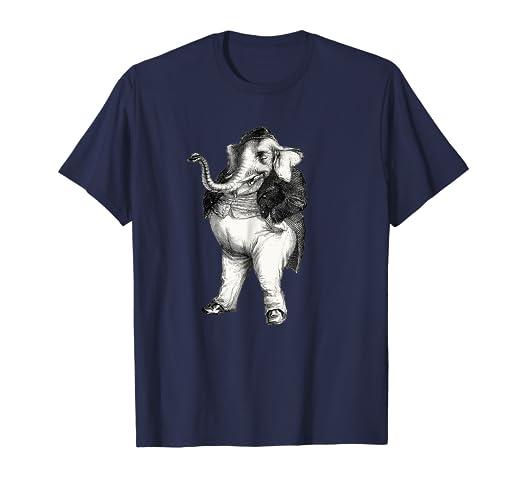 JJ Grandville Elephant Waistcoat Dress Smoking Cigar T Shirt