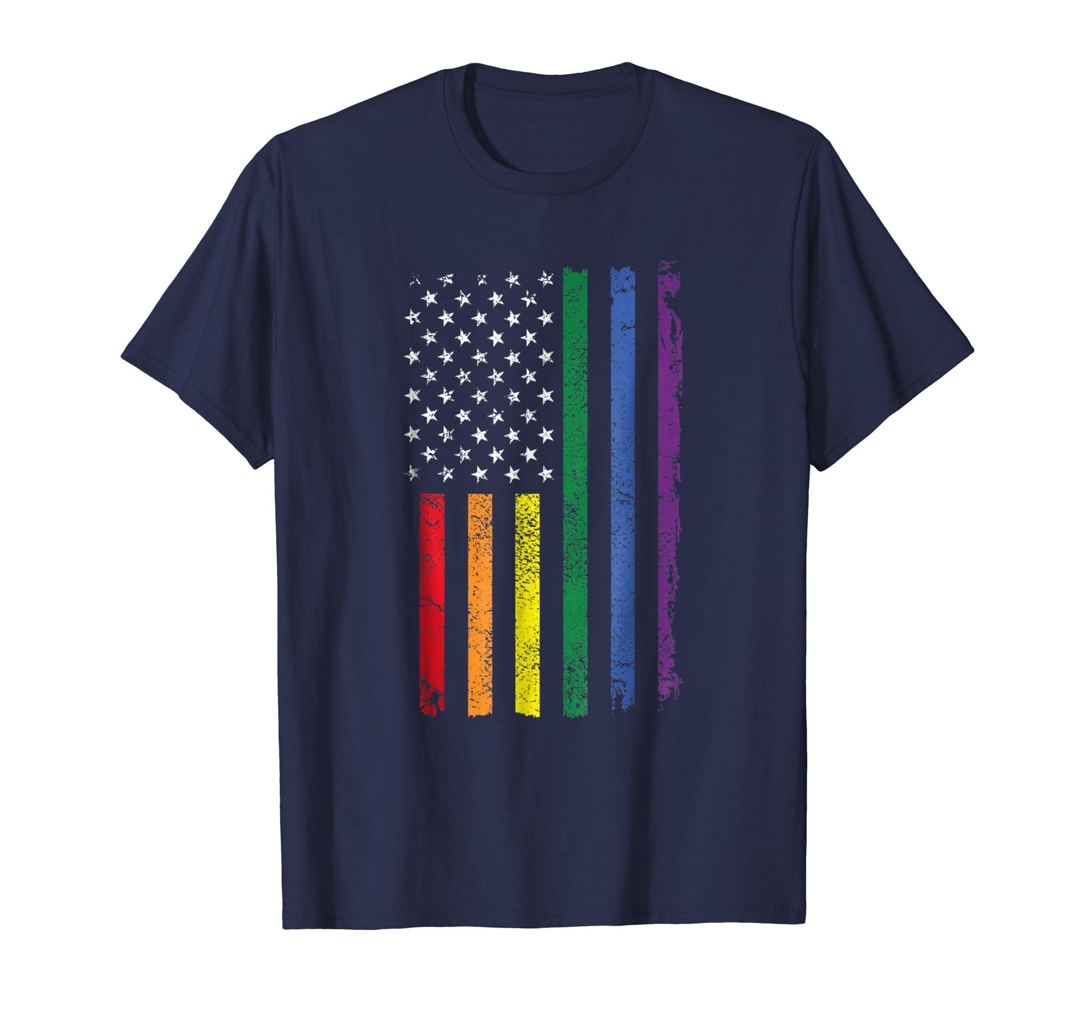 American Rainbow Flag LGBT Pride Tshirt-mt