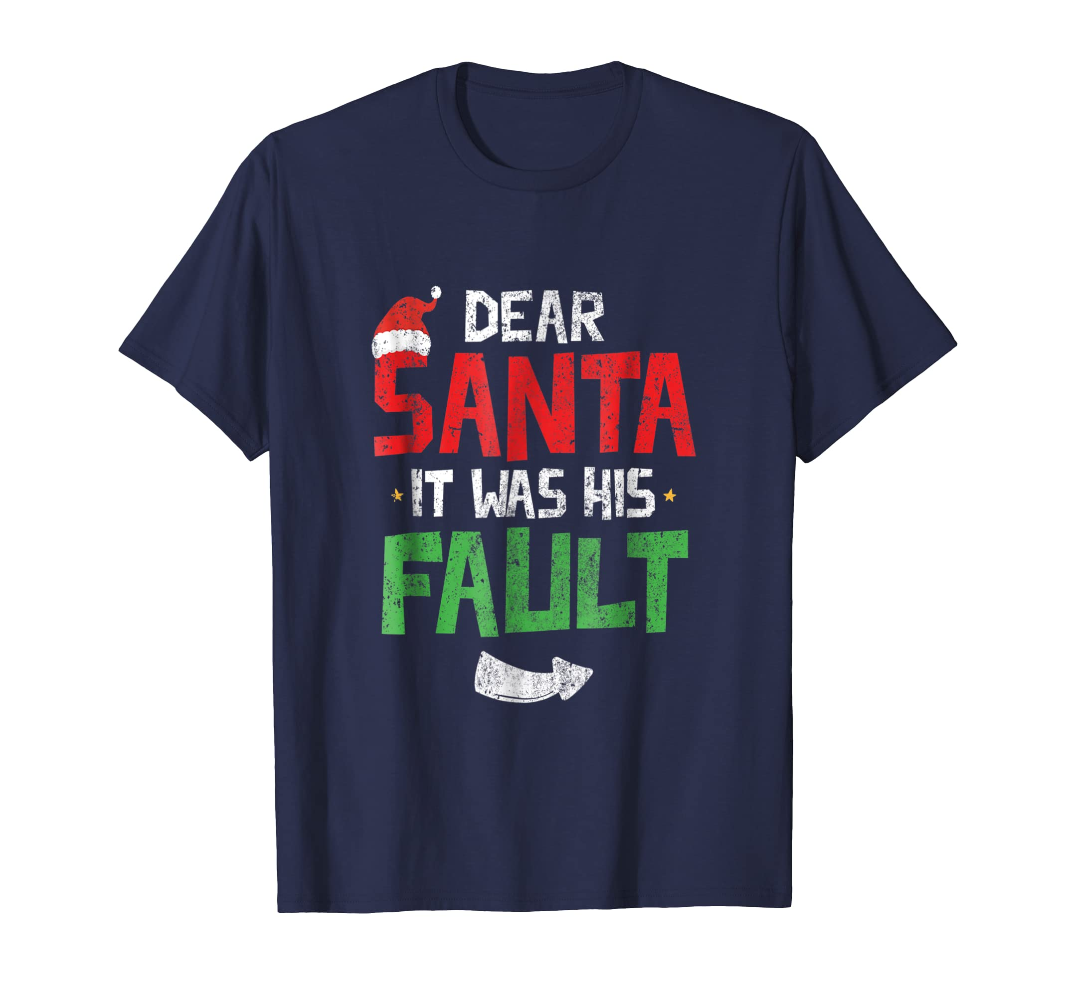 Funny Christmas Couples Tshirt Dear Santa It Was His Fault-azvn