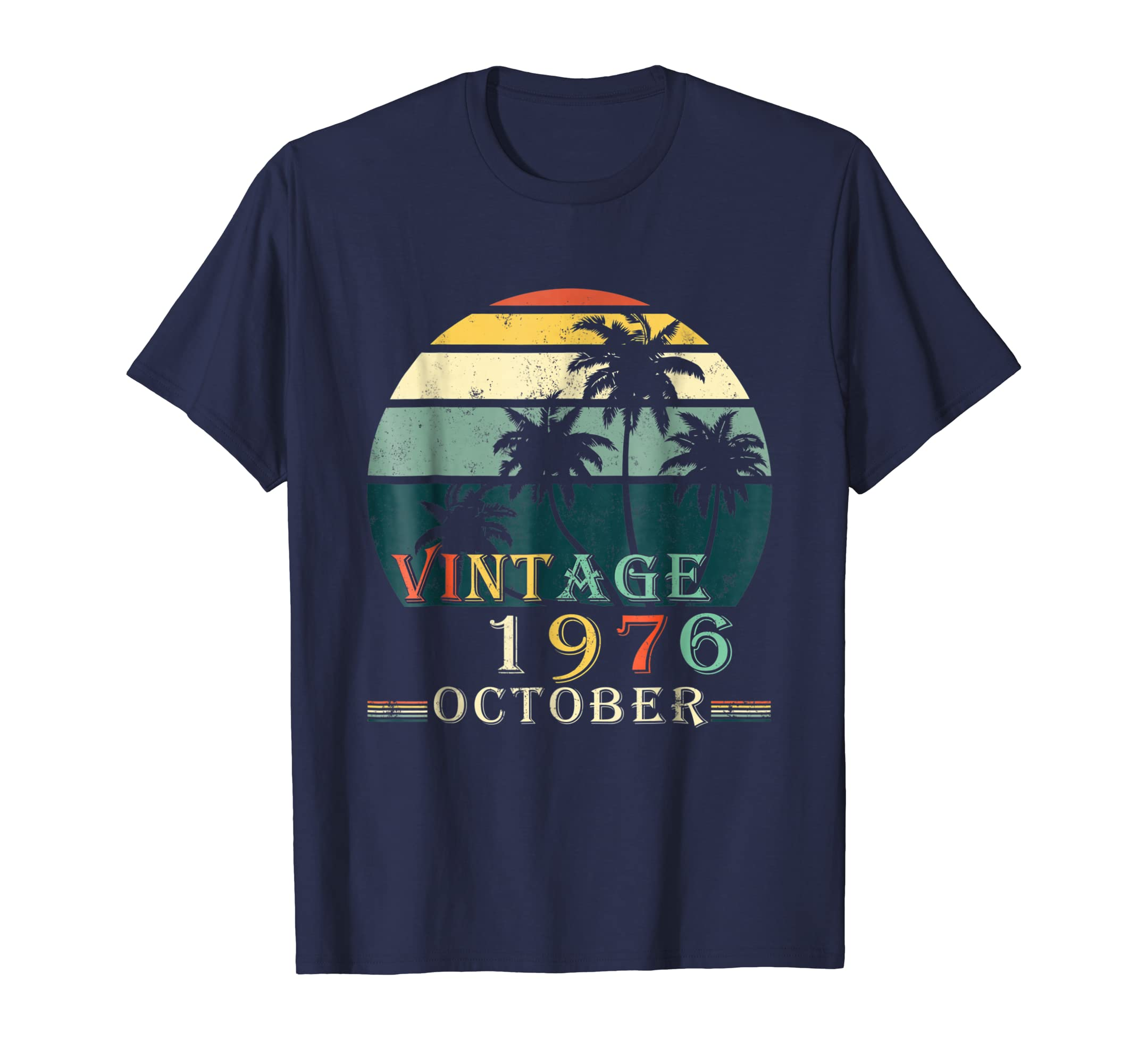 70s Style 42nd Birthday October 1976 Vintage Retro Tee Shirt-ln