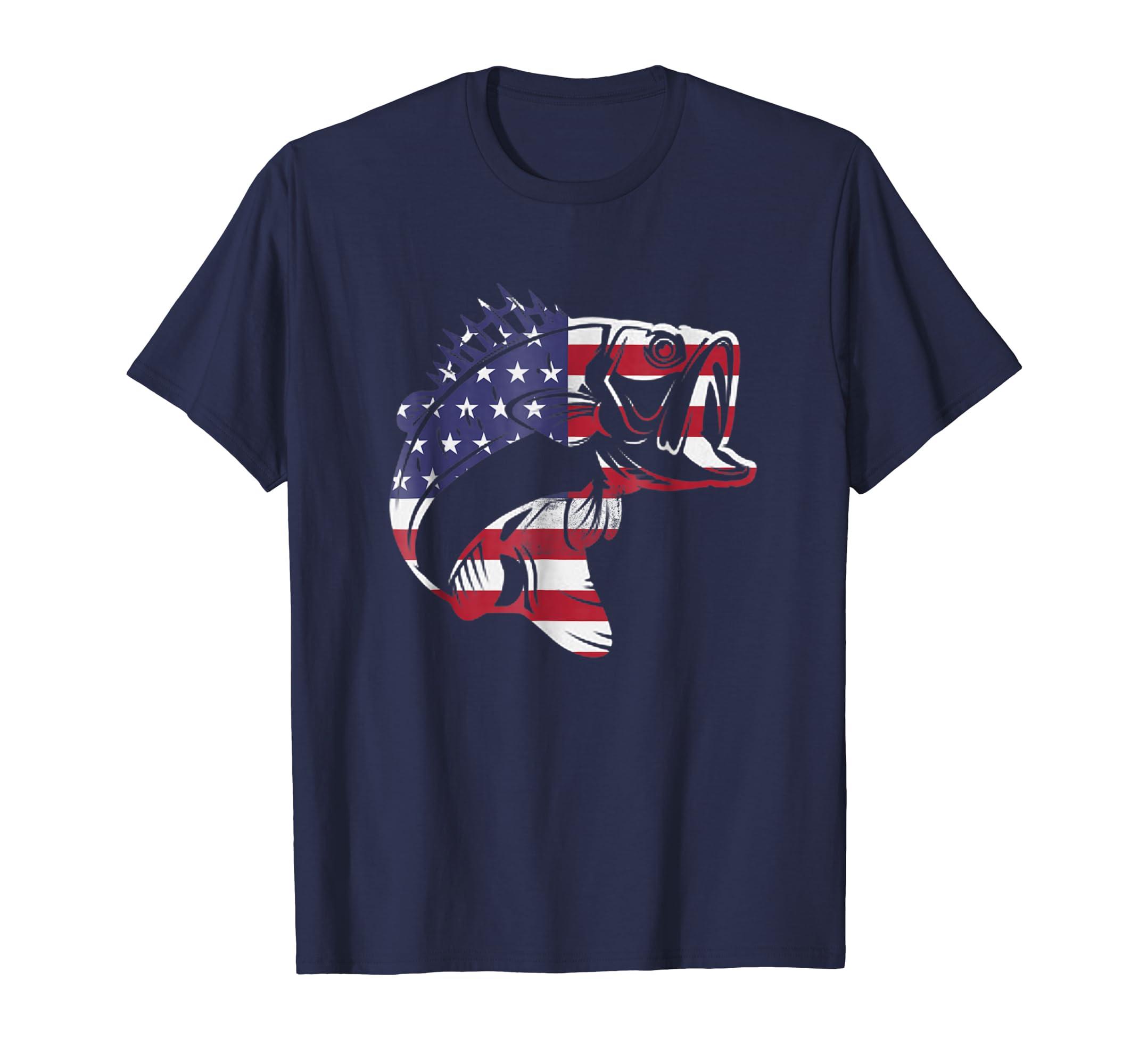Bass Fishing T  Shirt Bass Fisherman Gift USA Fish Shirt-Teesml