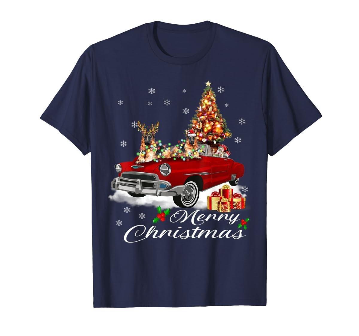 German Shepherd on Red Truck Christmas Pajama Dog Lover Gift T-Shirt-Men's T-Shirt-Navy
