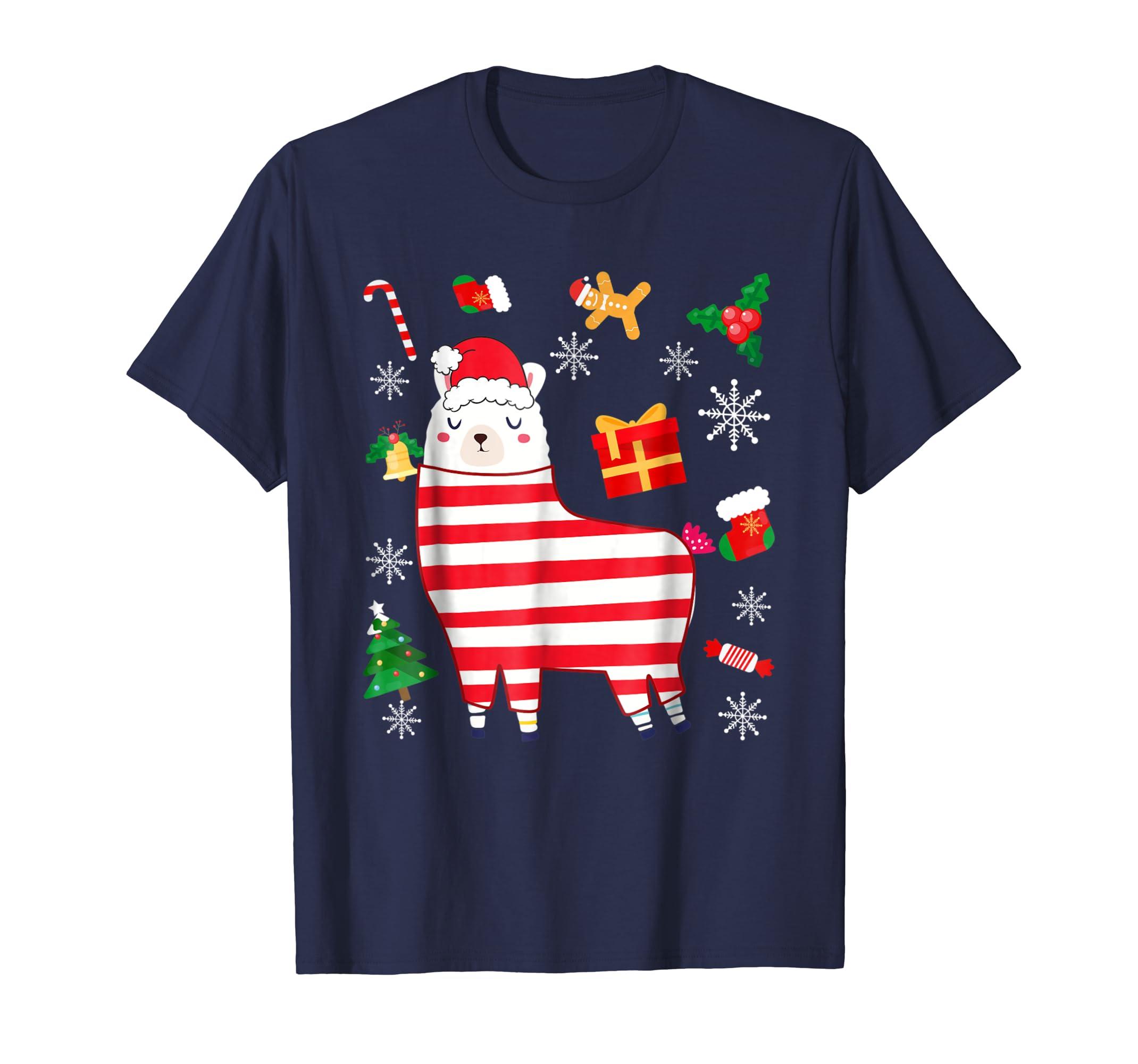 Funny Cute Pajama Llama Shirt Santa hat Christmas Gift-azvn