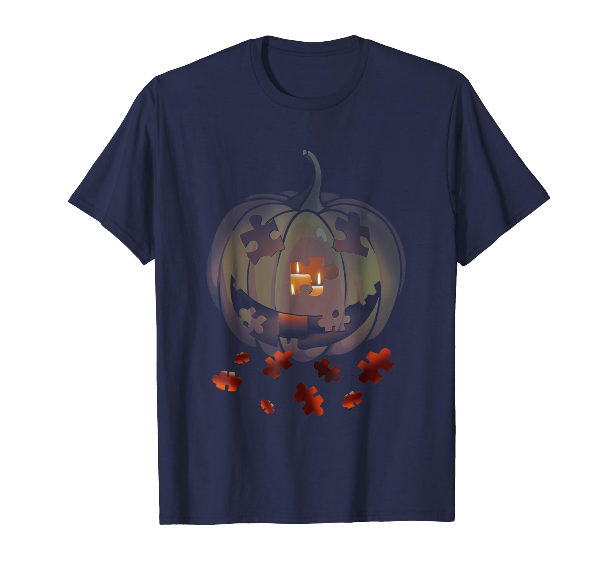 Halloween Autism Funny Pumpkin T Shirt For Men Women-Teesml