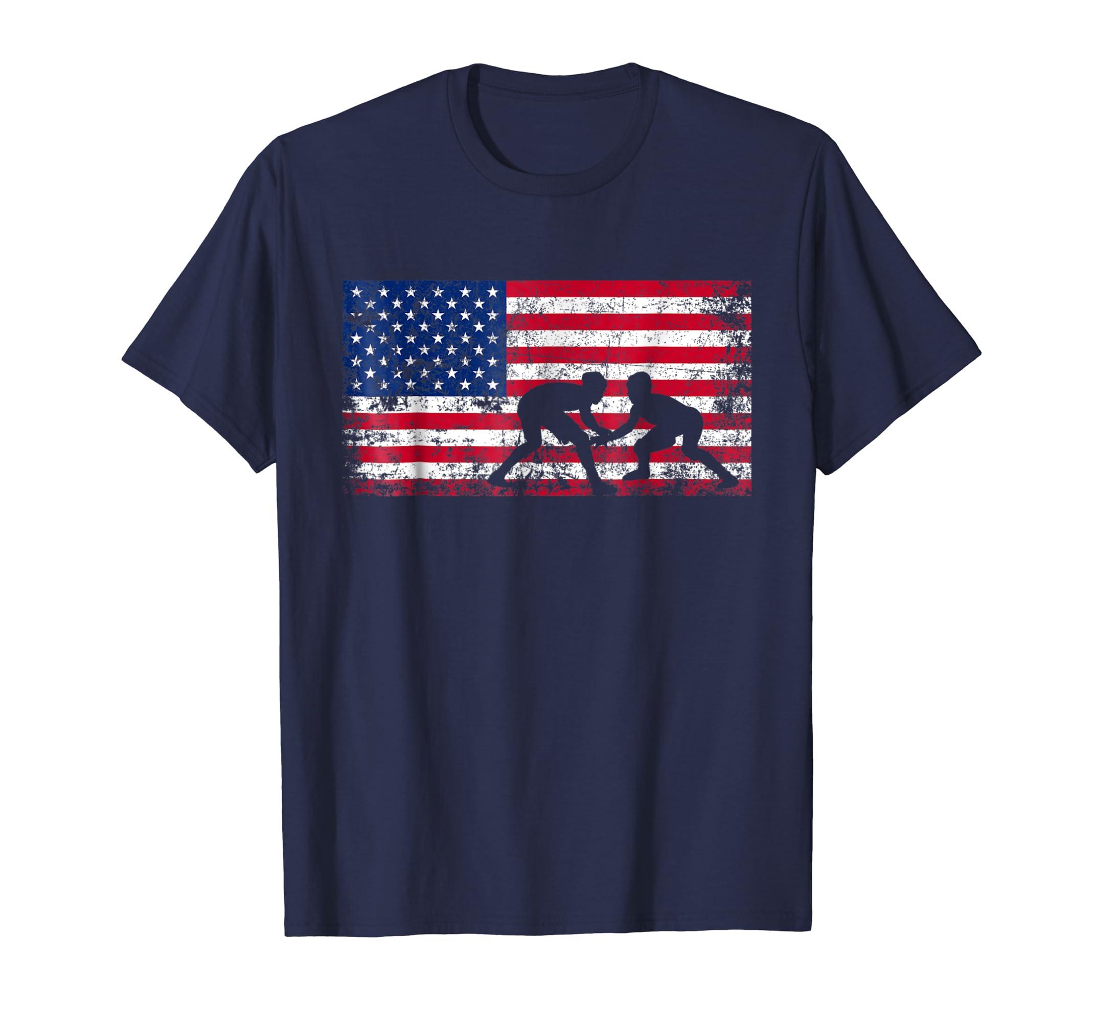 American Flag Wrestling T shirt Wrestling Gift-azvn