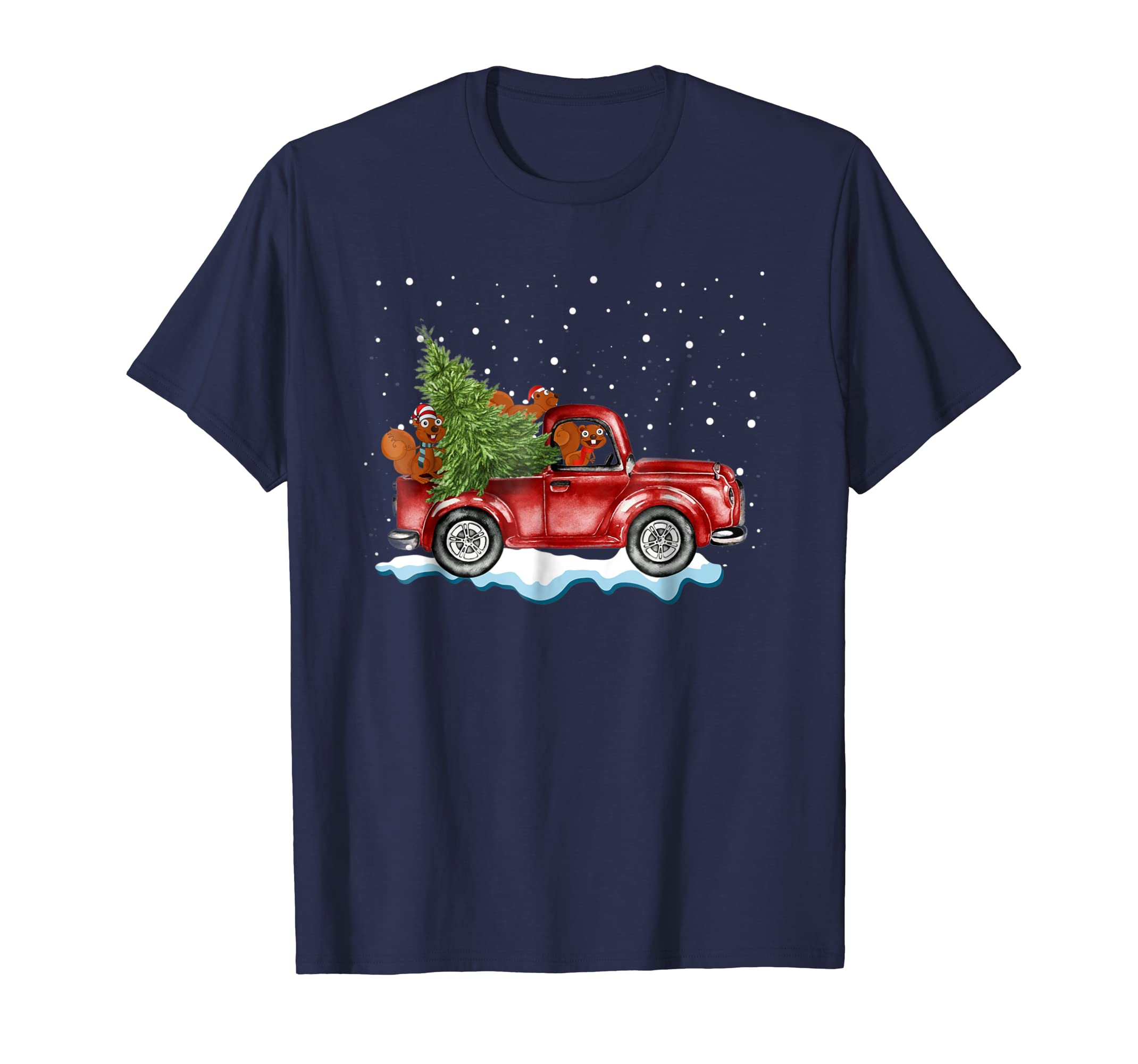 Squirrels Ride Red Truck Christmas Pajama Tshirt Xmas Gifts-azvn