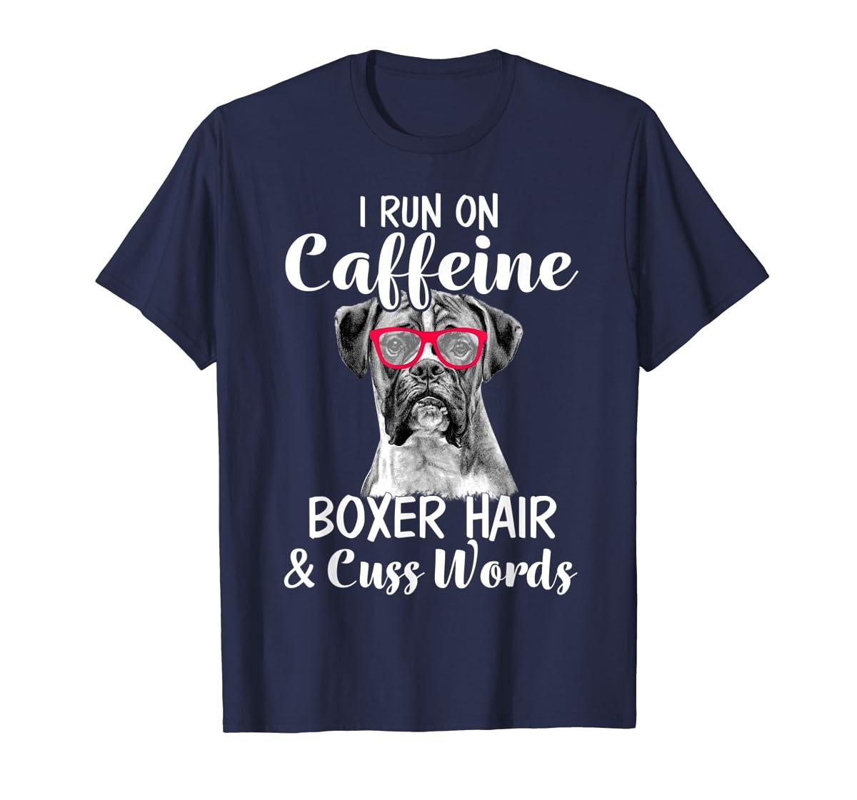 I Run On Caffeine Boxer Hair Mom Tshirt, Mothers Day Shirt-Men's T-Shirt-Navy
