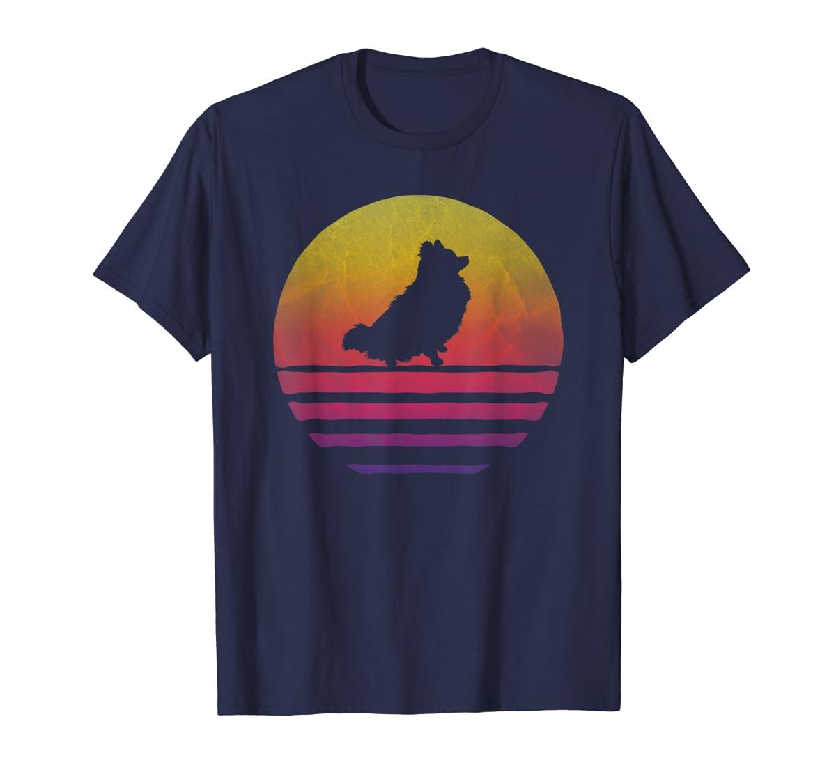 Retro Vintage Sunset Pomeranian Dog Lover Silhouette Gift T-Shirt-Men's T-Shirt-Navy