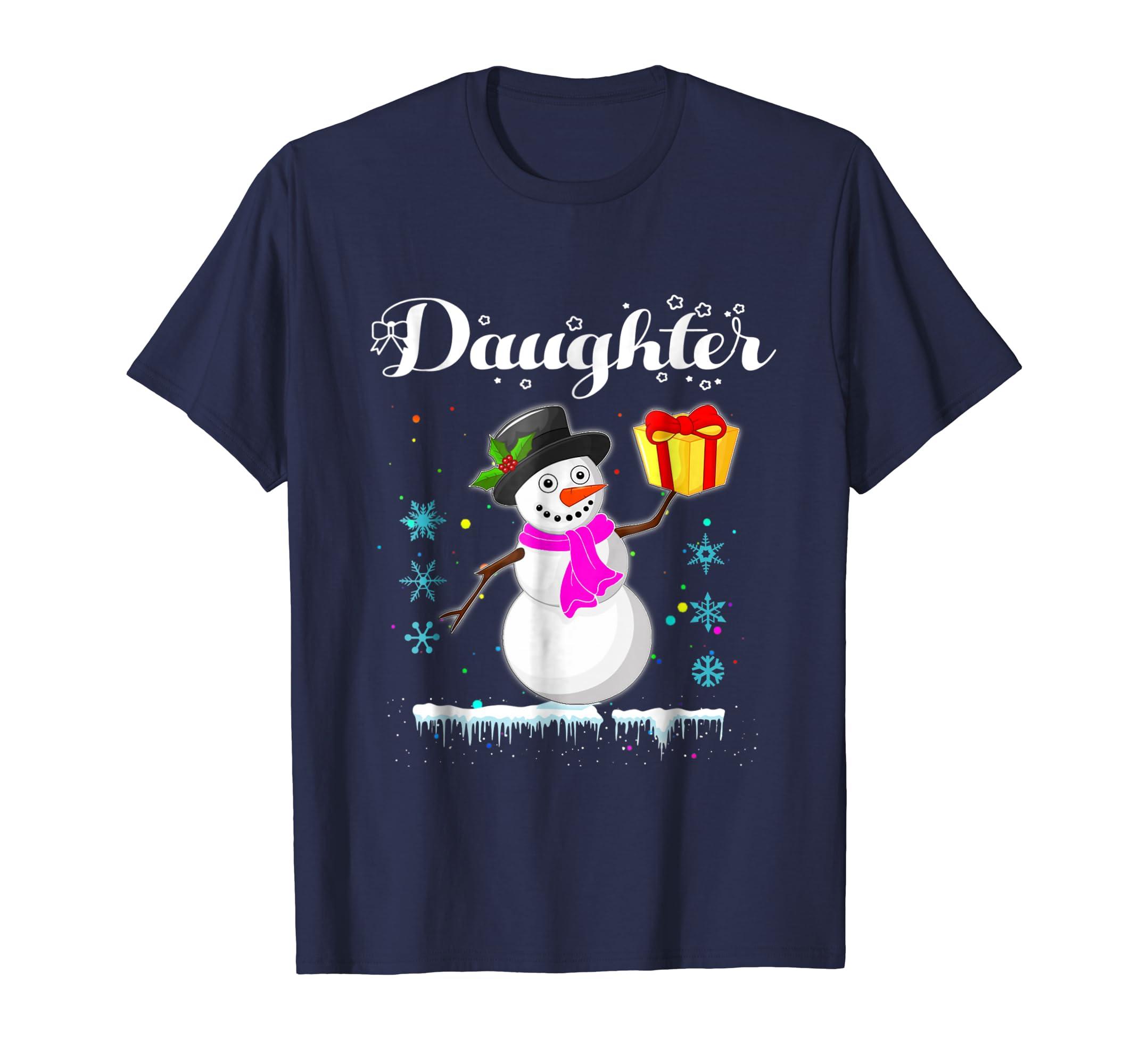 Daughter Snowman Shirt Matching Family Christmas Squad T Shi-azvn