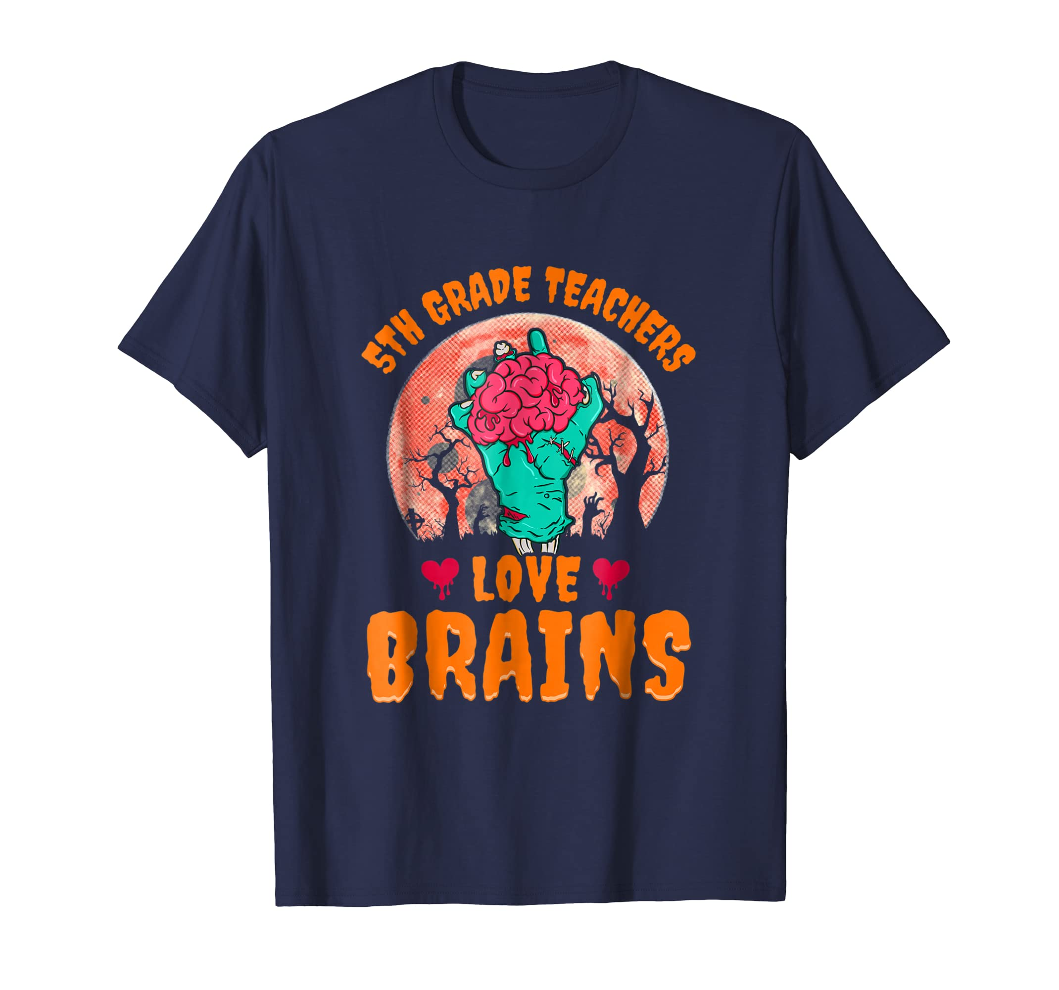 5th Grade Teachers Love Brains Shirt Kids Halloween Costume-azvn