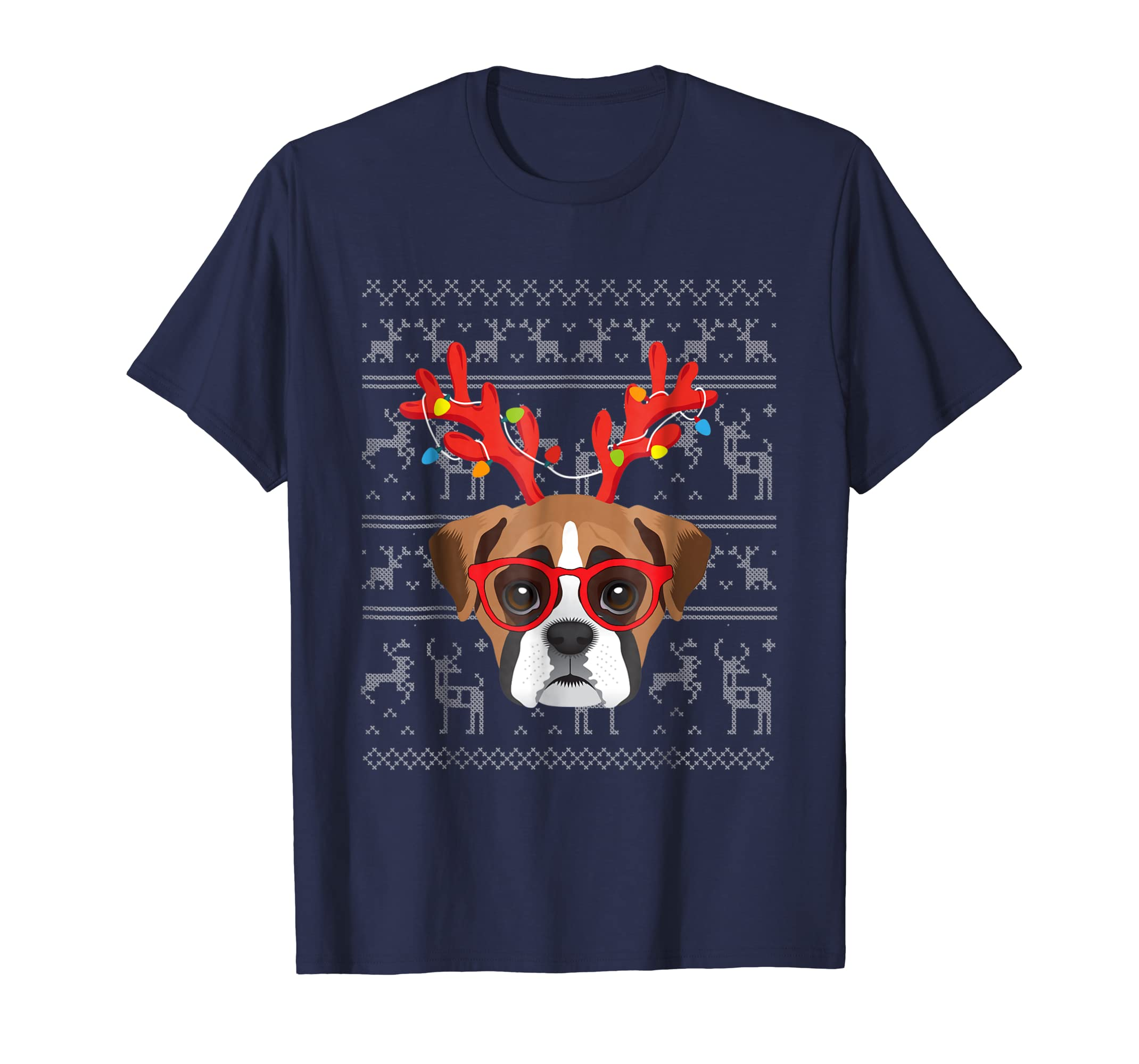 Antlers Light Boxer Christmas Ugly Sweater Style T shirt-azvn