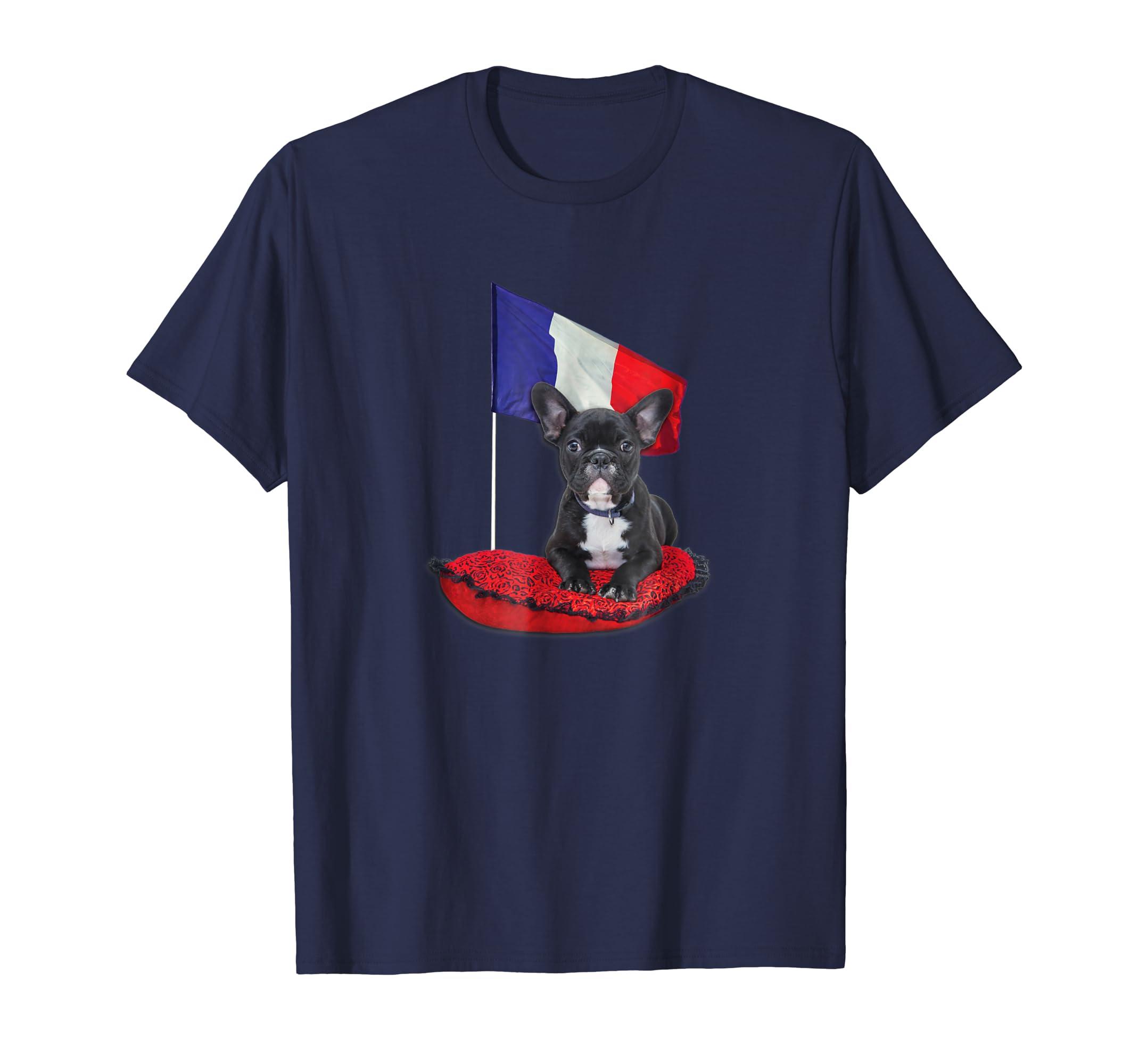 Bastille Day T Shirt Patriotic French Bulldog France Flag- TPT