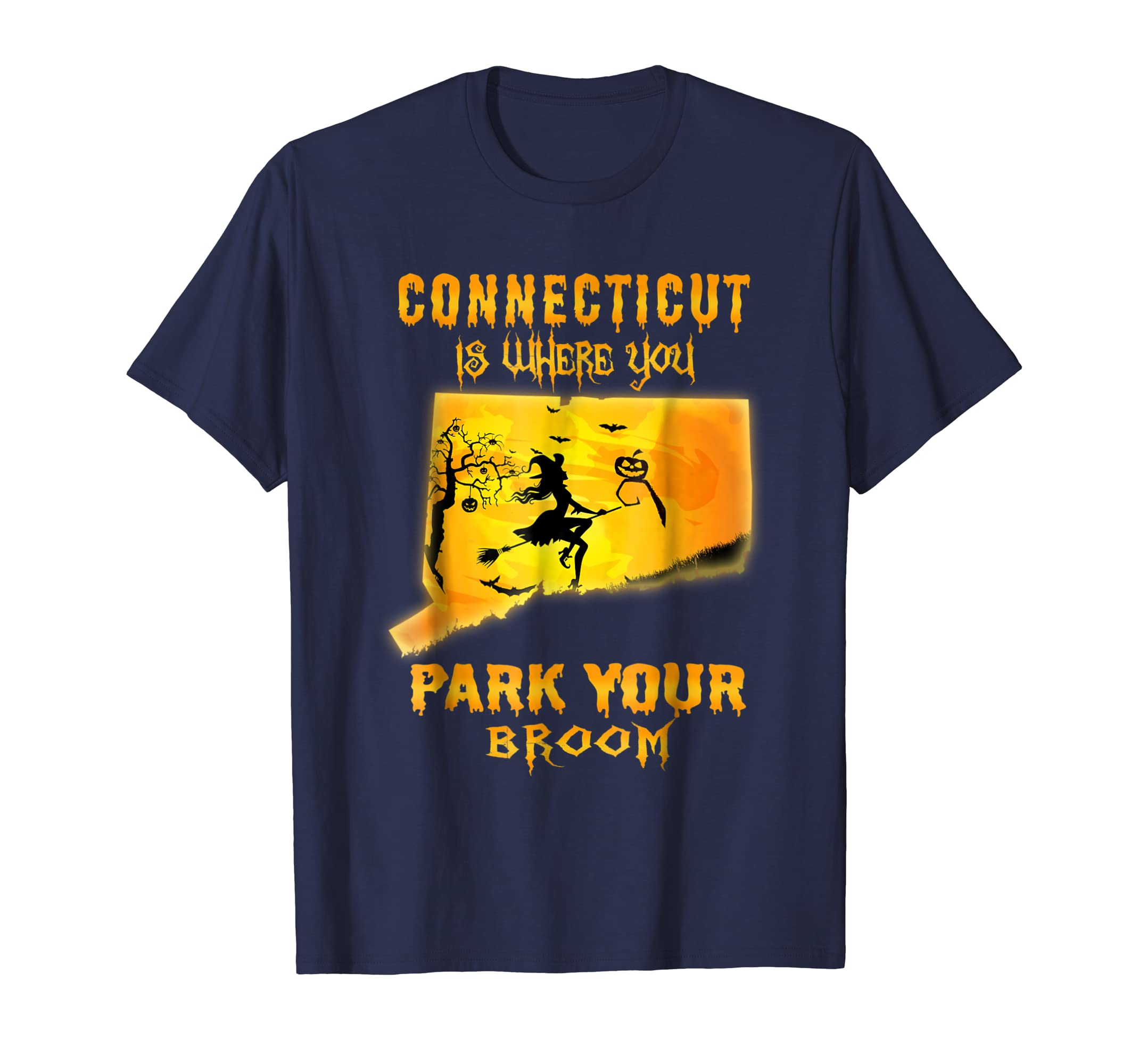 Connecticut Is Where You Park You Broom Halloween T Shirt-ln