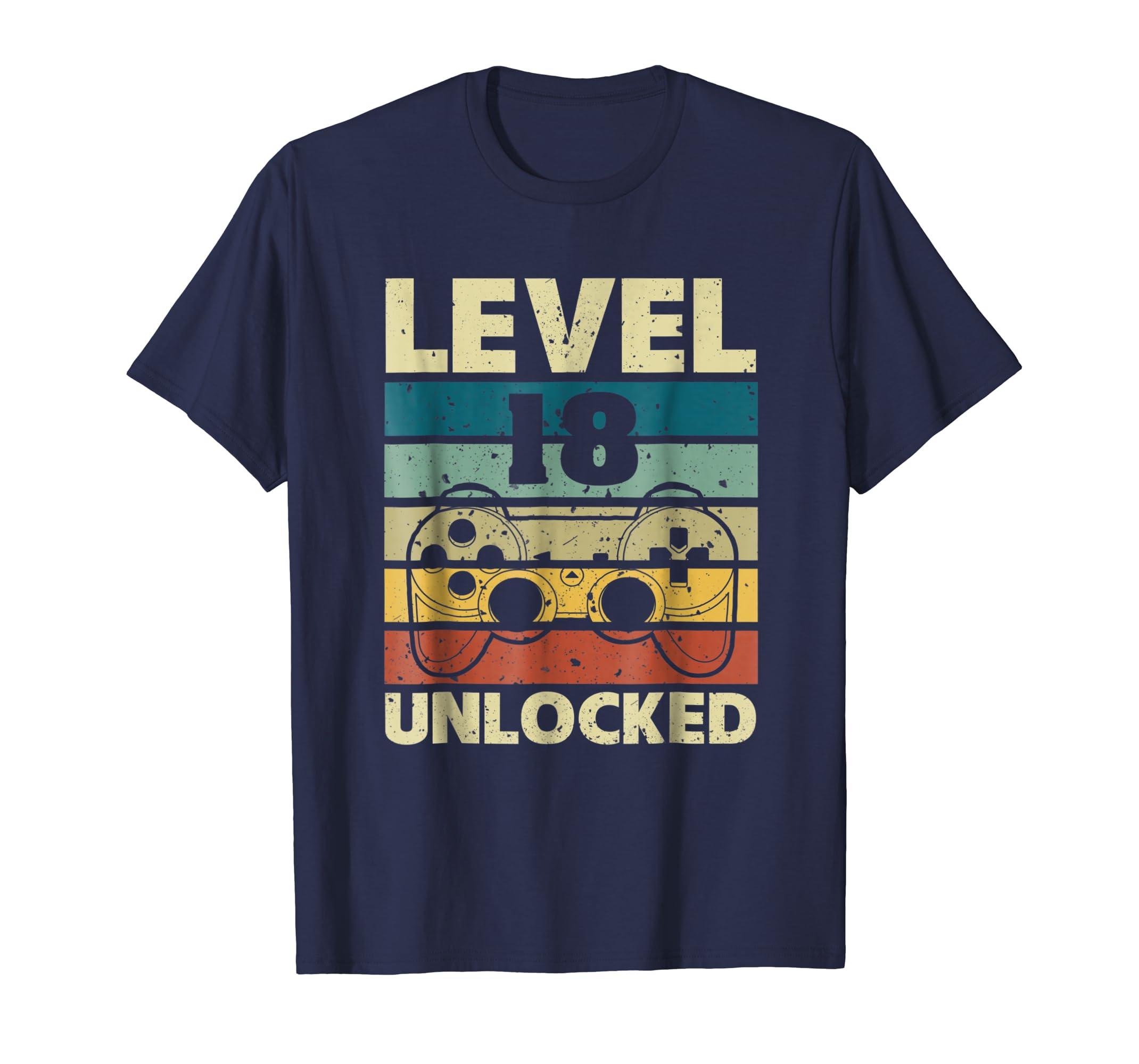 Level 18 Unlocked T Shirt Vintage Gamer 18th Birthday Gifts