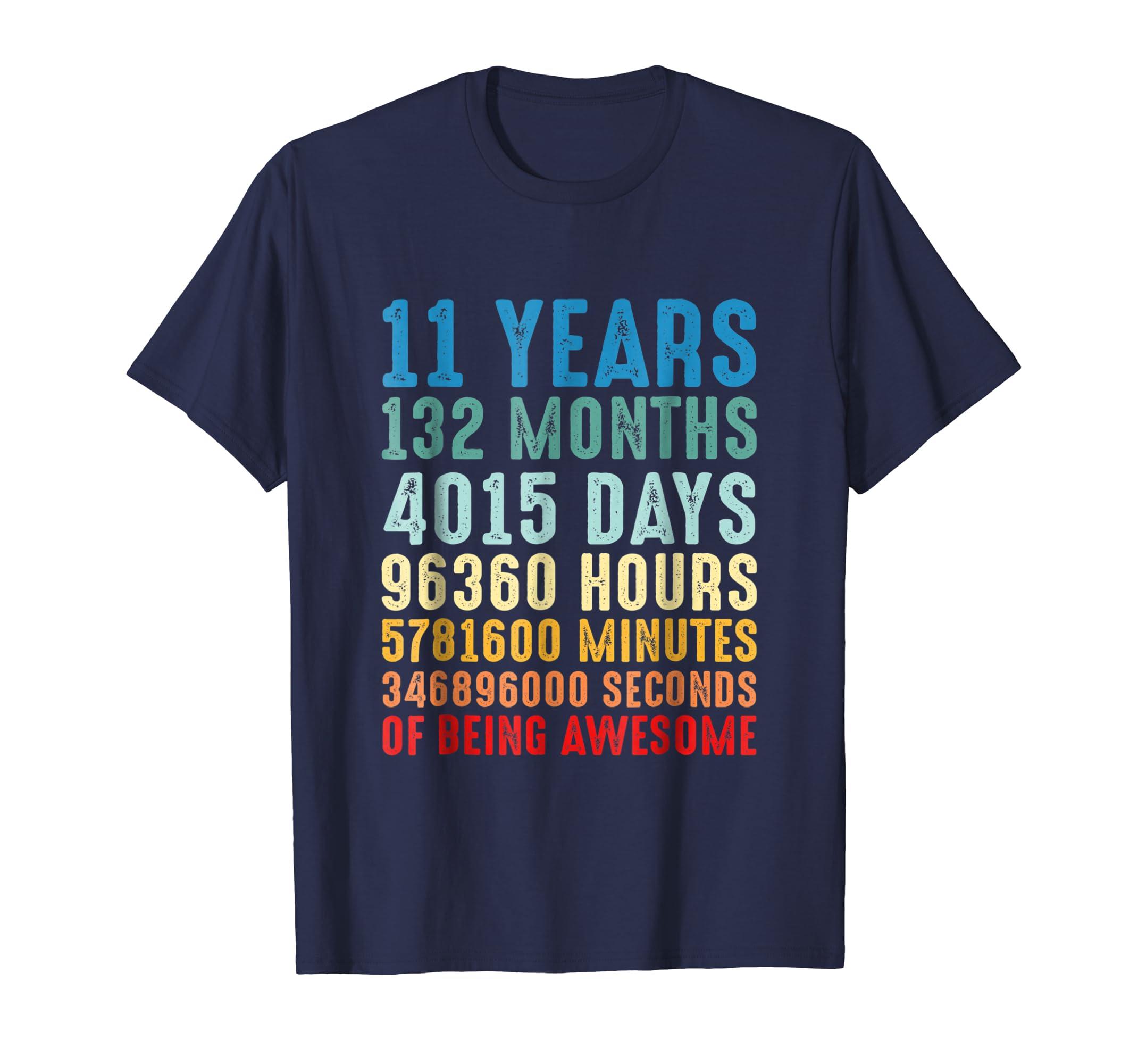 11 Years Old 11th Birthday Retro Vintage Shirt 132 Months-ln