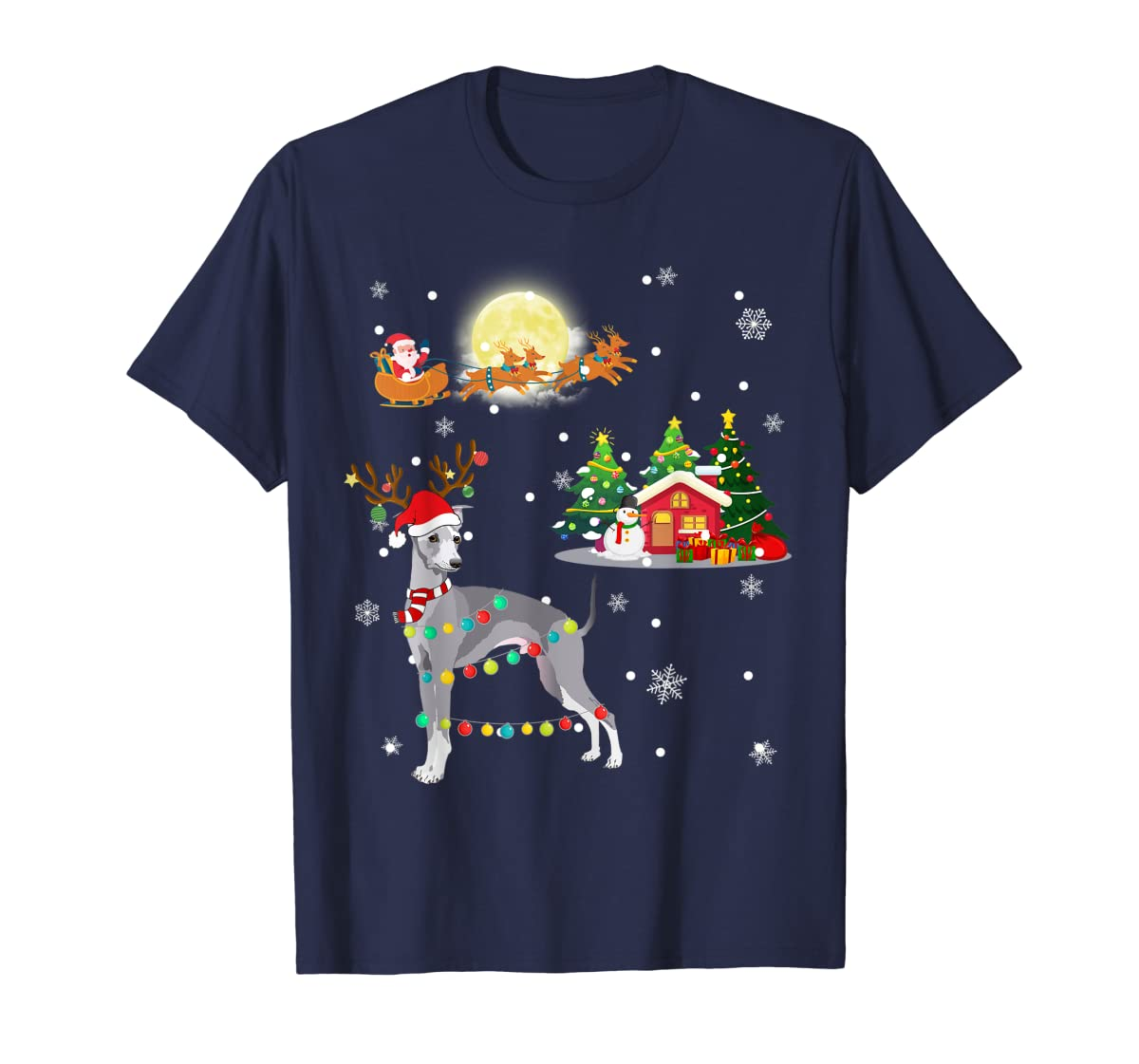 Greyhound Dog Led Light Christmas 2019 Gift T-Shirt-Men's T-Shirt-Navy
