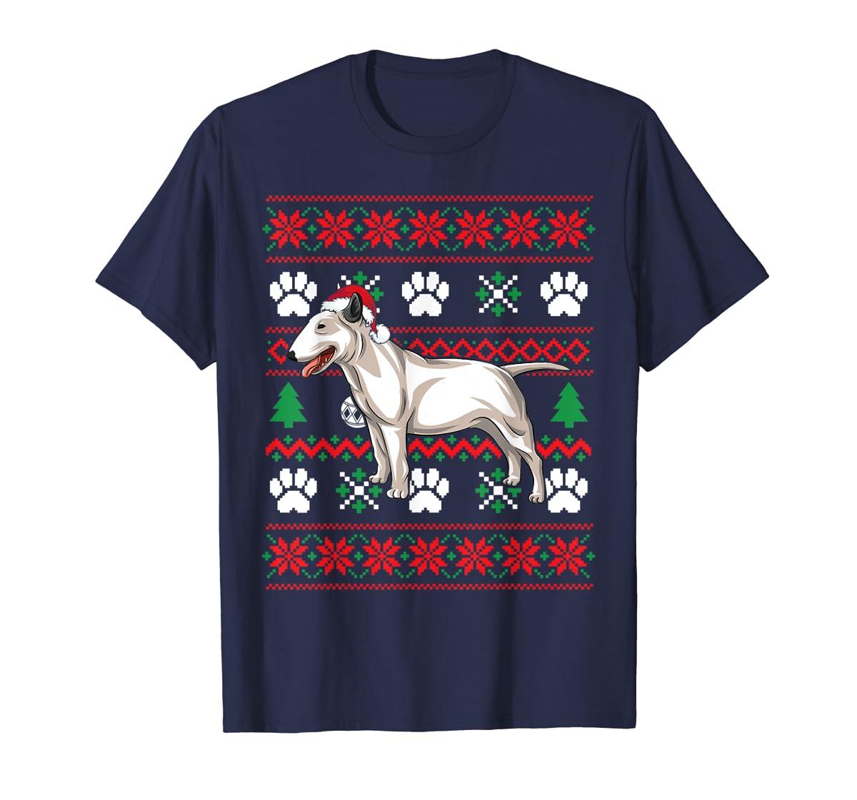 Bull terriers Ugly Christmas T Shirt Bull terriers Santa Hat T-Shirt-Men's T-Shirt-Navy