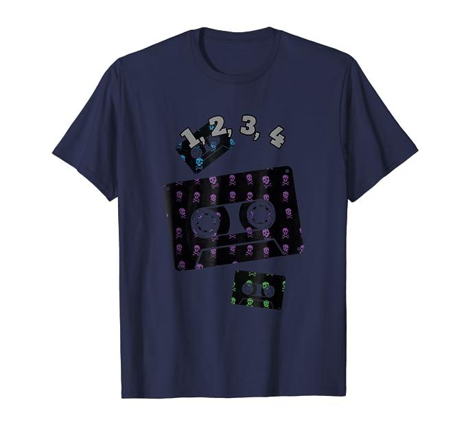 1234 Retro Cassette skull and cross bones music Tee Shirt