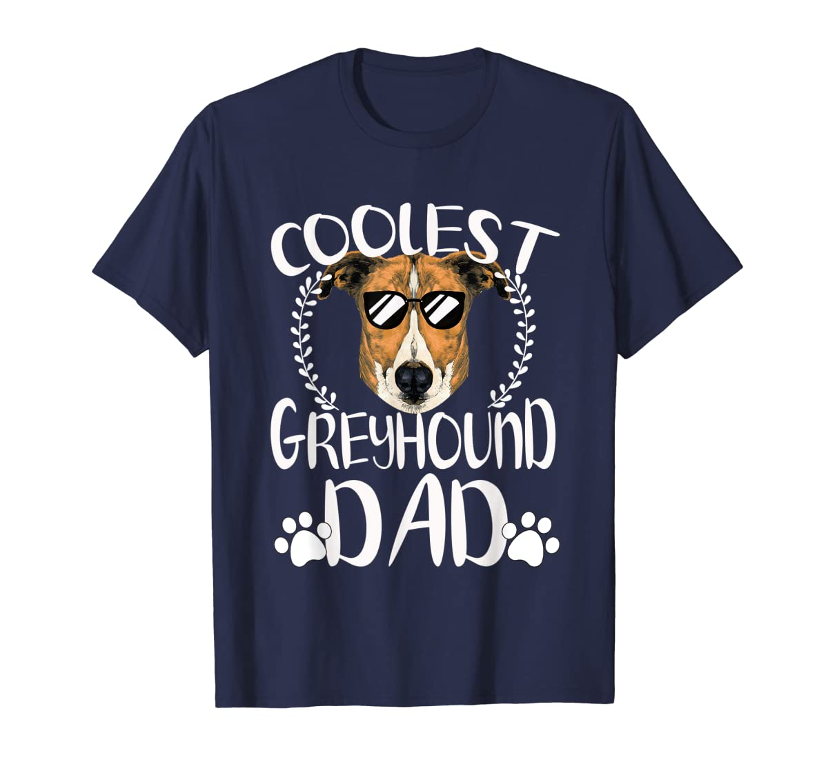 Glasses Coolest Greyhound Dog Dad T-Shirt Father's Day Gifts-Men's T-Shirt-Navy