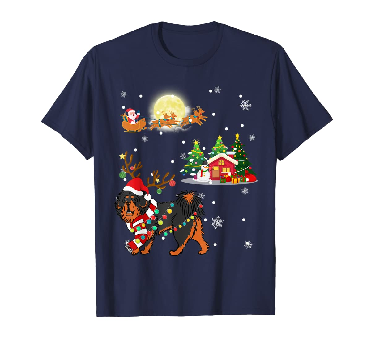 Tibetan Mastiff Dog Led Light Christmas 2019 Gift T-Shirt-Men's T-Shirt-Navy