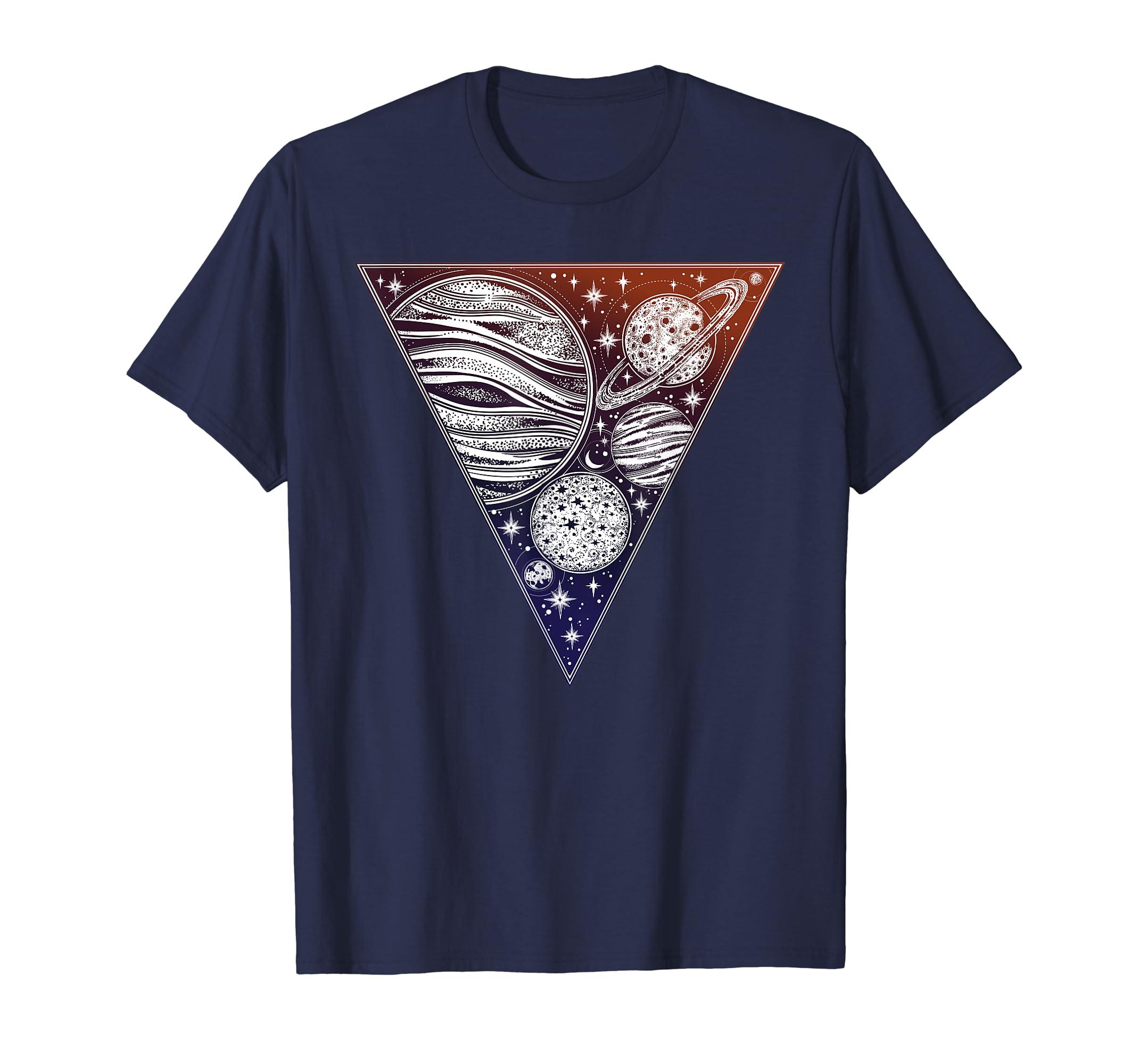 b78f9419617 Amazon.com  Interstellar Tshirt - Sacred Geometry Cosmos Planets Space   Clothing