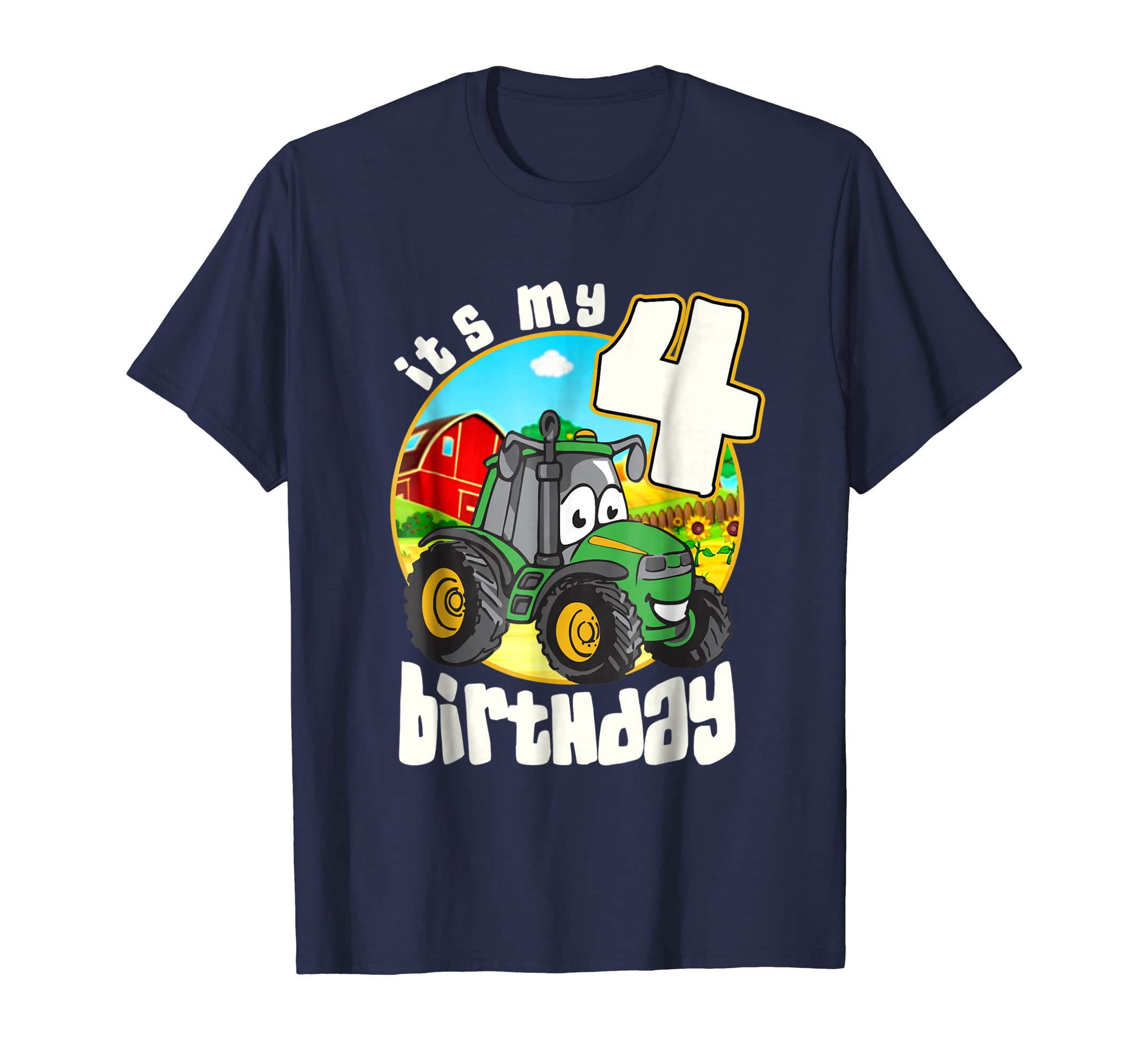 Amazon Its My Birthday 4 Tractor Childrens T Shirt V2 Clothing