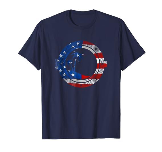 American Flag Porthole Ship Window and Palm Tree Tee Shirt