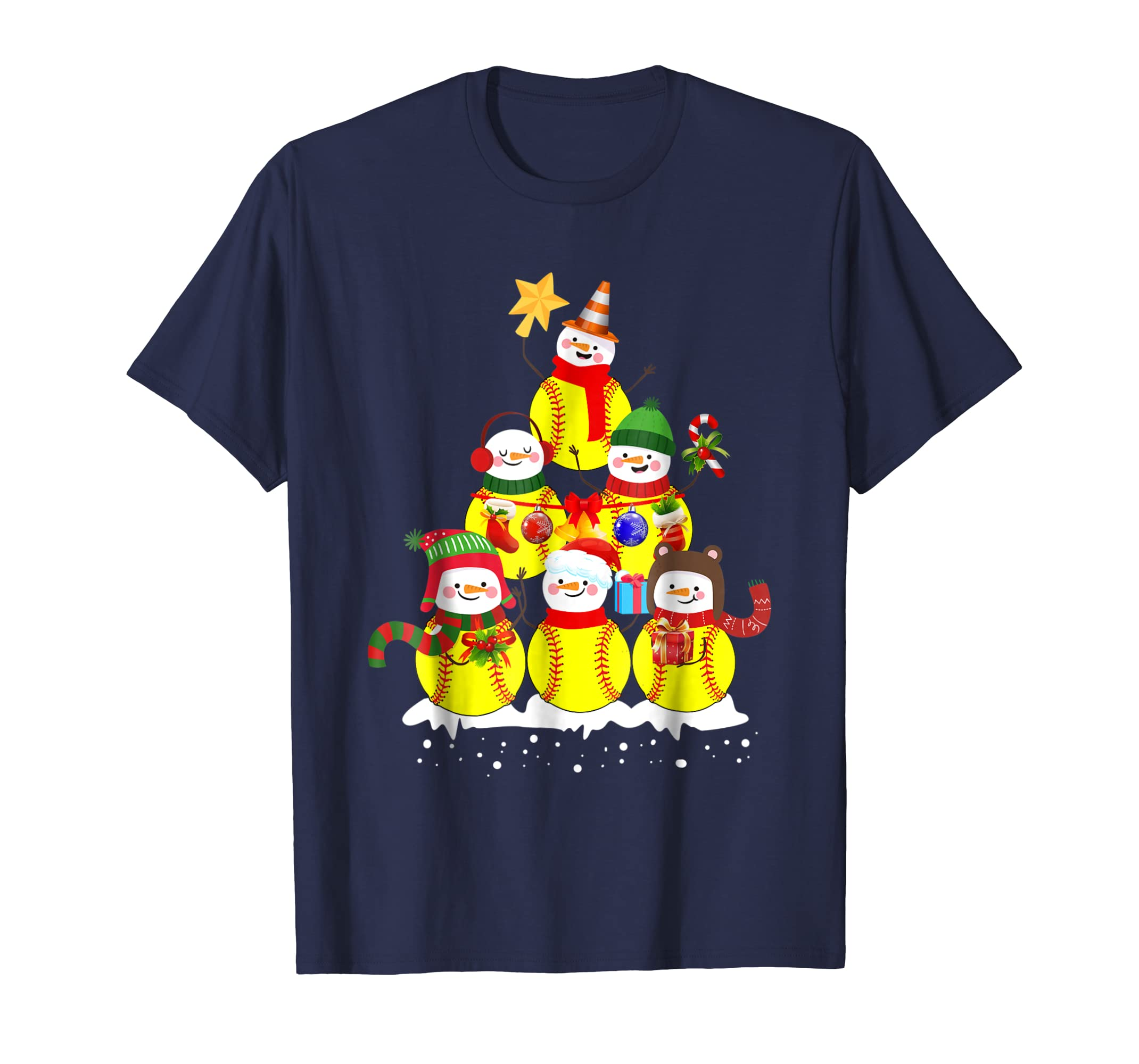 Softball Snowman Christmas Tree T shirt Funny Xmas TShirt-azvn