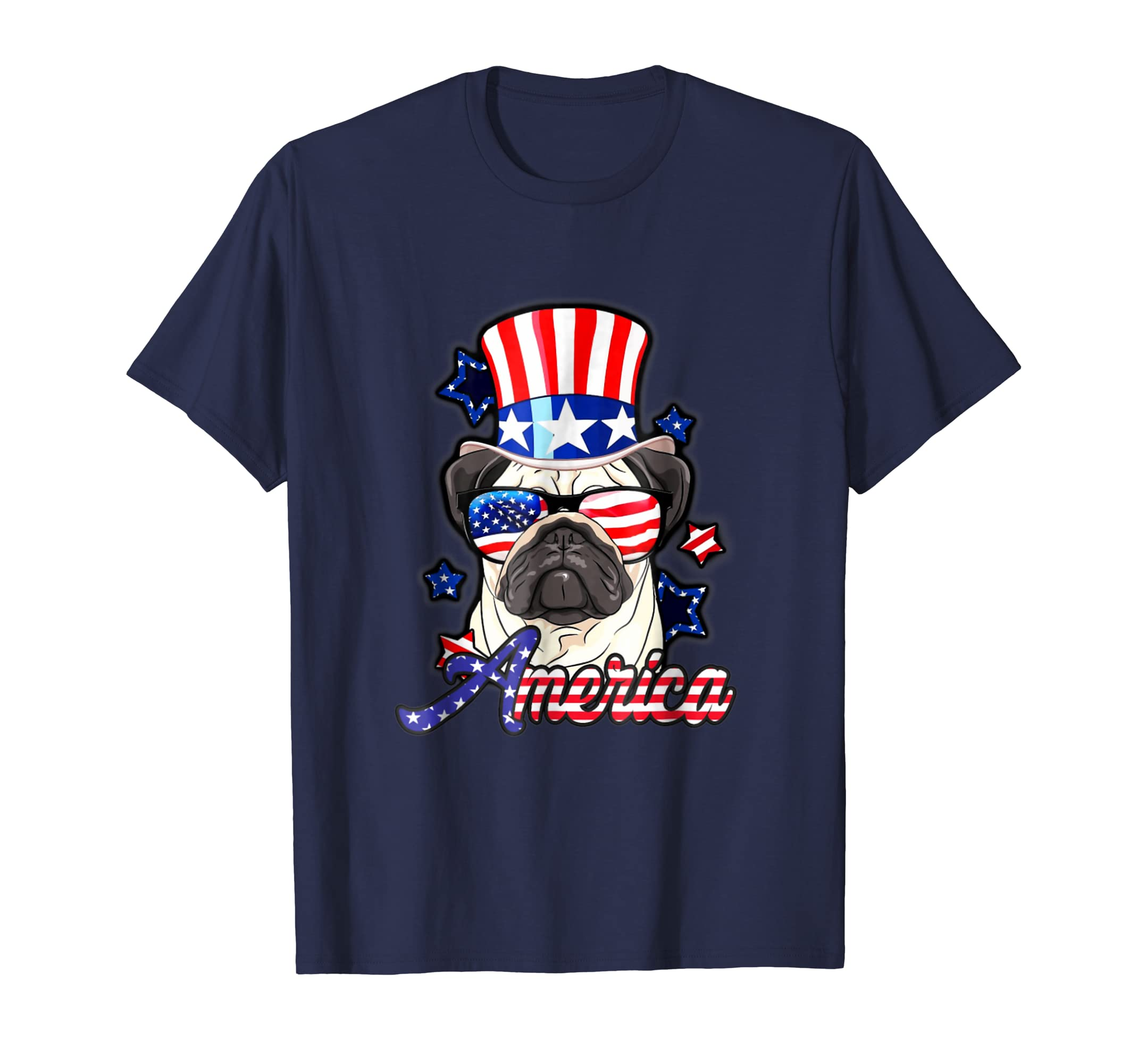 4th of July America Flag Uncle Sam Hat Pug Merica T-Shirt-AZP
