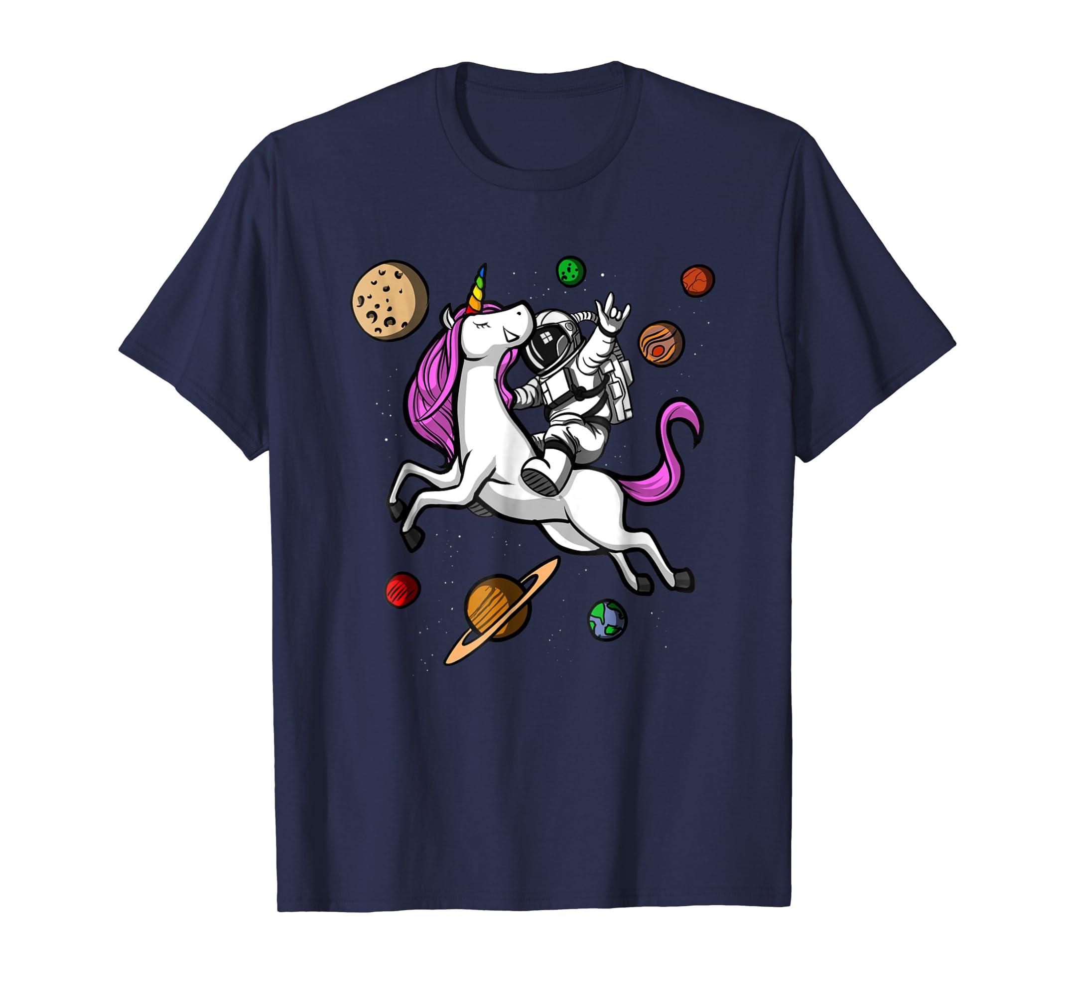 Astronaut Riding Unicorn Funny Space Galaxy Travel T Shirt-Teehay