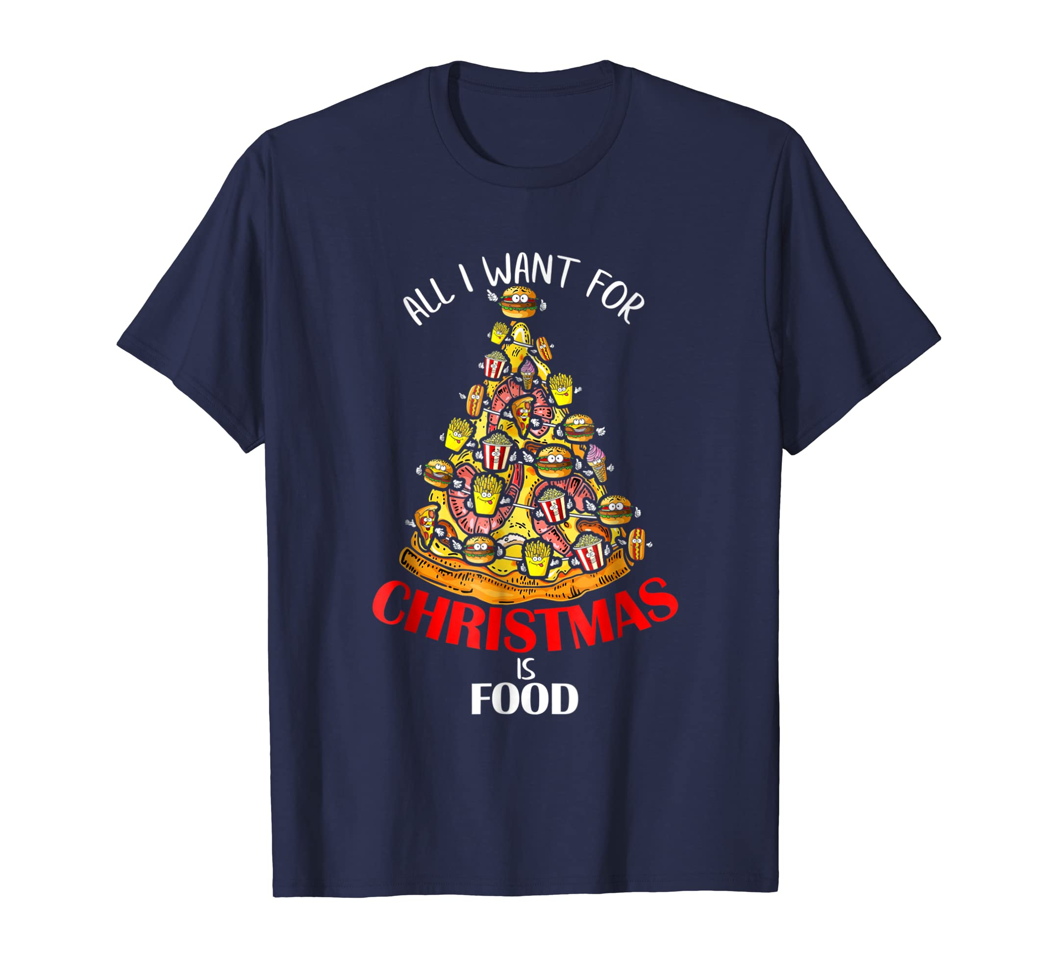 All I Want For Christmas Is Food Tree Graphic T Shirt-azvn