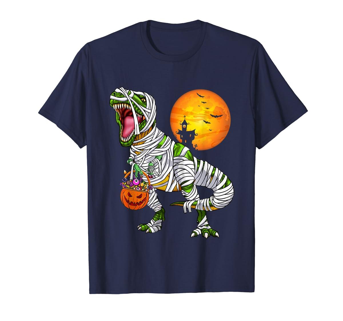 Halloween Gift For Boys Kids Dinosaur T rex Mummy Pumpkin T-Shirt-Men's T-Shirt-Navy
